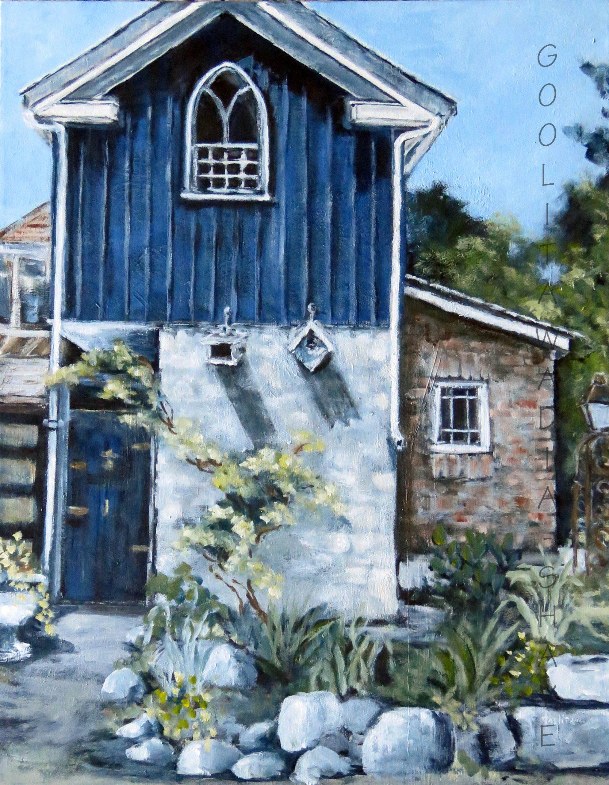 "Birdhouses Elora - 28"" x 22"" Acrylic on Canvas. $850"