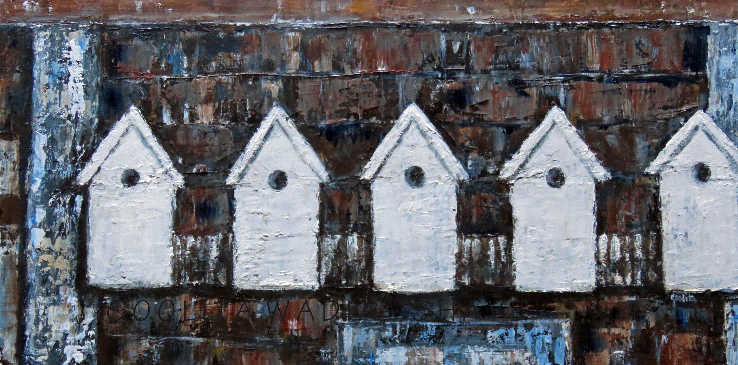"""Home Tweet Home - 12"""" x 24"""" Acrylic on Wood Panel. $425"""