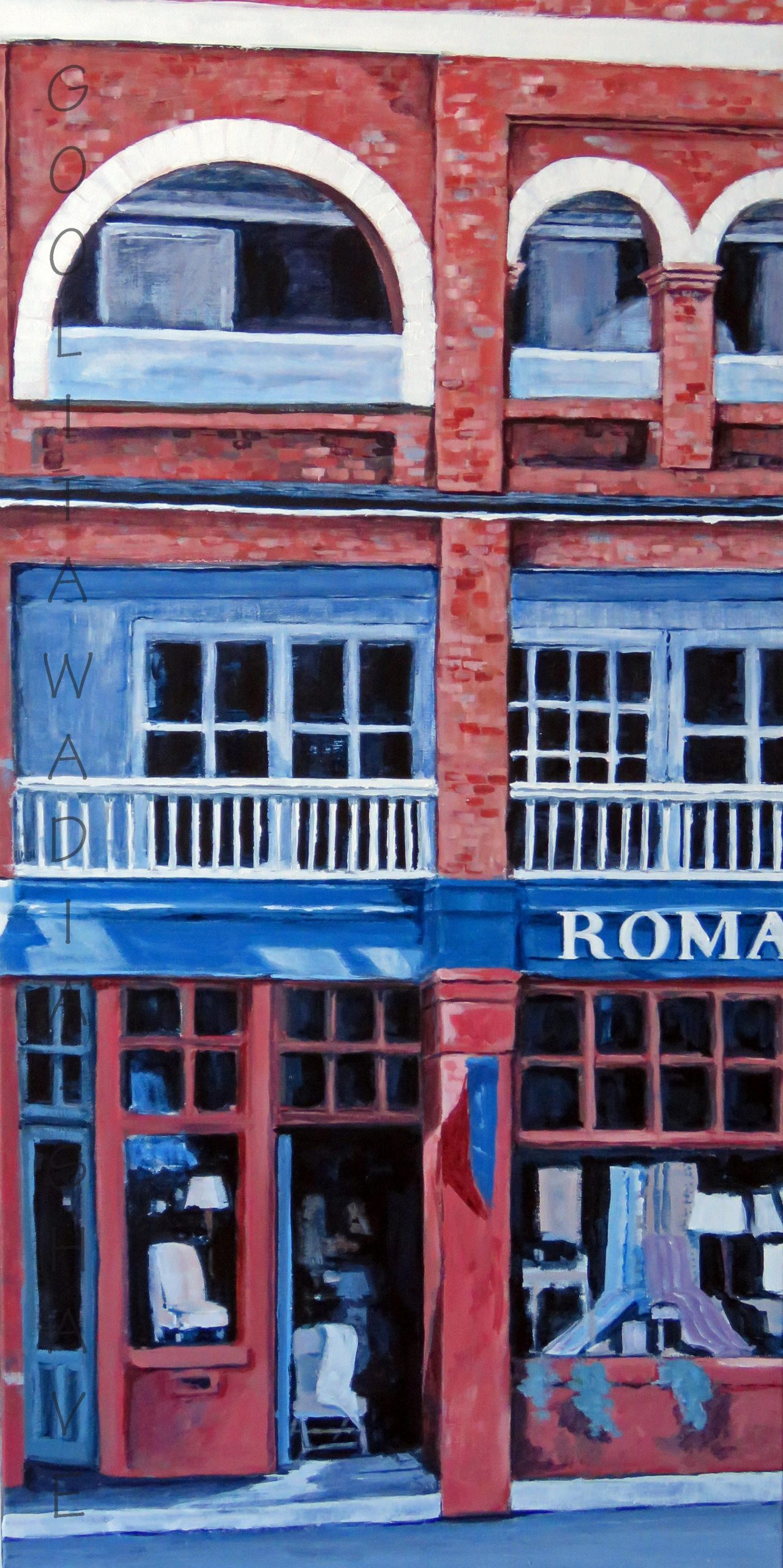 """Government St, Victoria, BC - 40"""" x 20"""" Acrylic on Canvas. $1500"""
