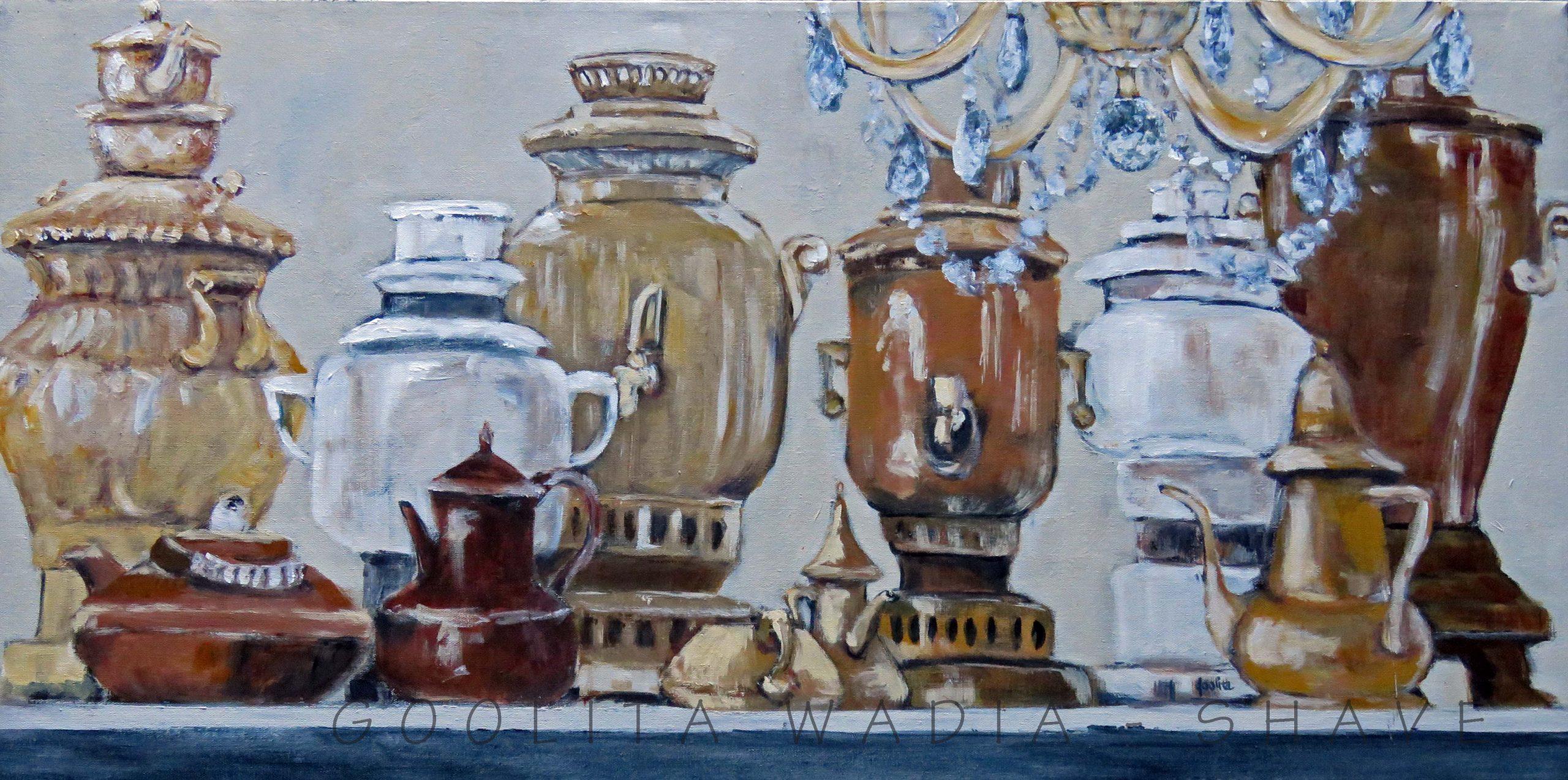 """Tea Urns - 18"""" x 36"""" Acrylic on Canvas. $1200"""