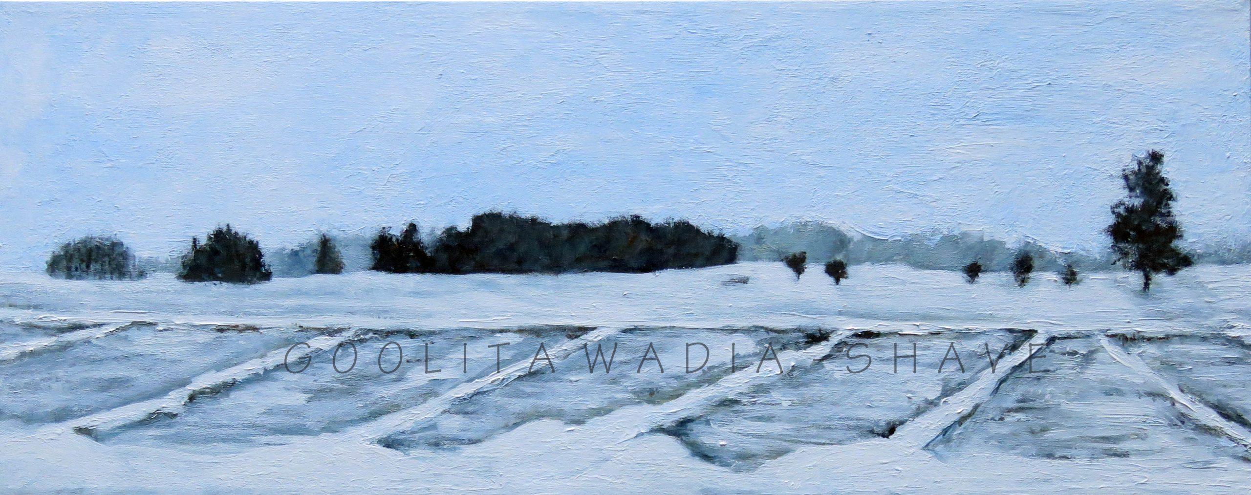 "Winter Fields - 12"" x 30"" Acrylic on Wood Cradle. $750"