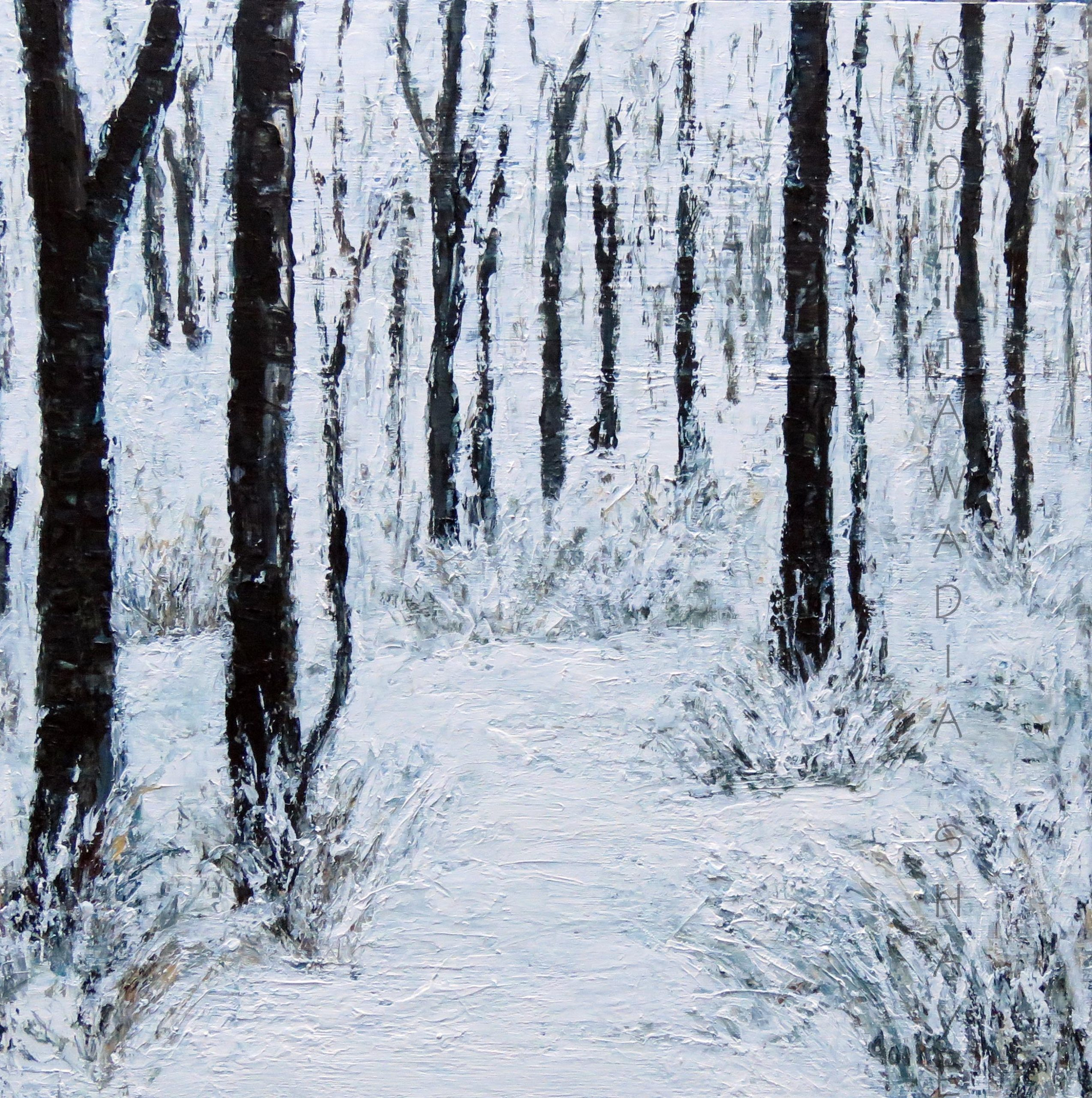 "Winter St Thomas - 16"" x 16"" Acrylic on Wood Cradle. $525"