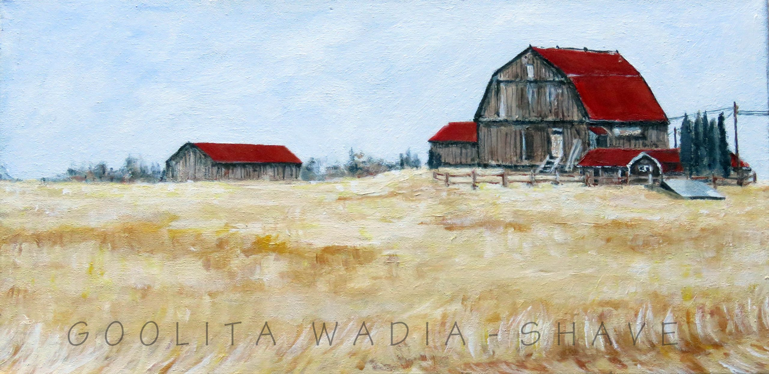 """Red Roof Barns - 12"""" x 24"""" Acrylic on Canvas. $650"""