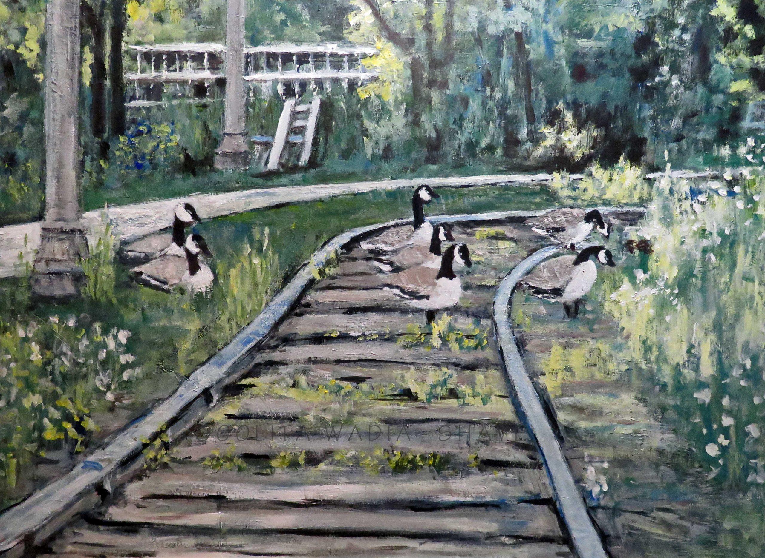 "Downtown Trail - 30"" x 40"" Acrylic on Canvas. $950"