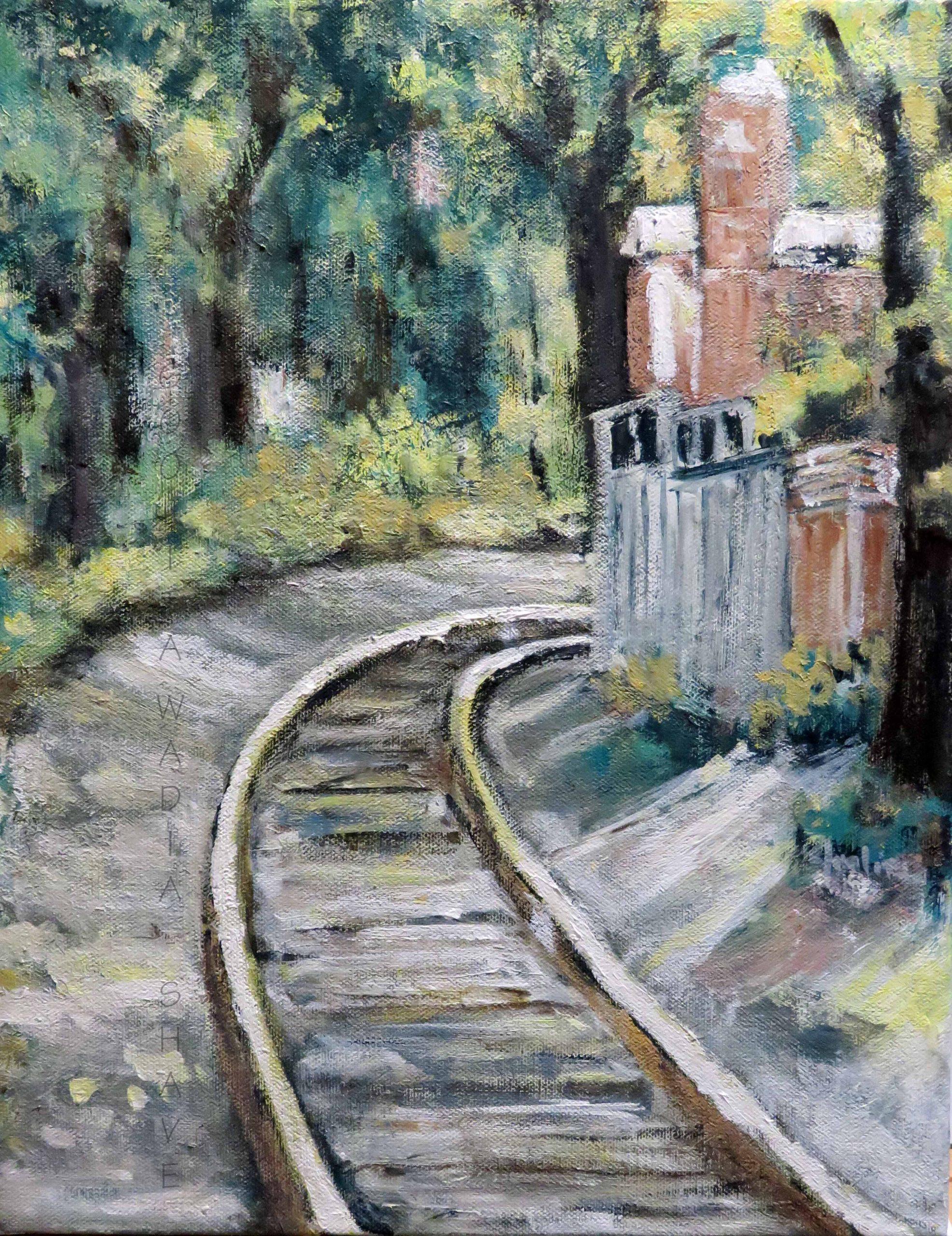 "Guelph Railway Lines - 14"" x 11"" Acrylic on Canvas. $225"