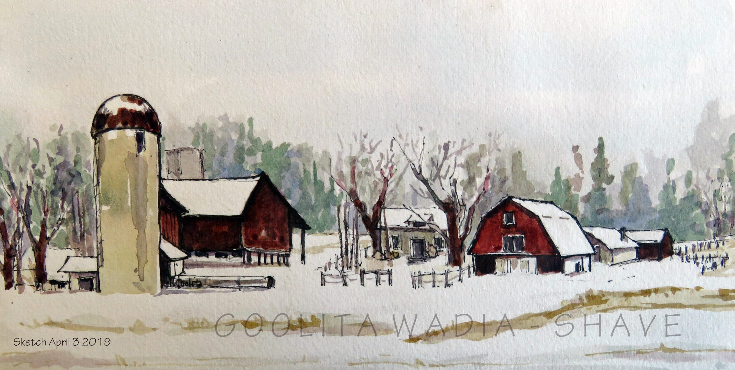 "Ontario Barn (Series) - 4.5"" x 9"" Original Watercolour on Archival Paper. $55"