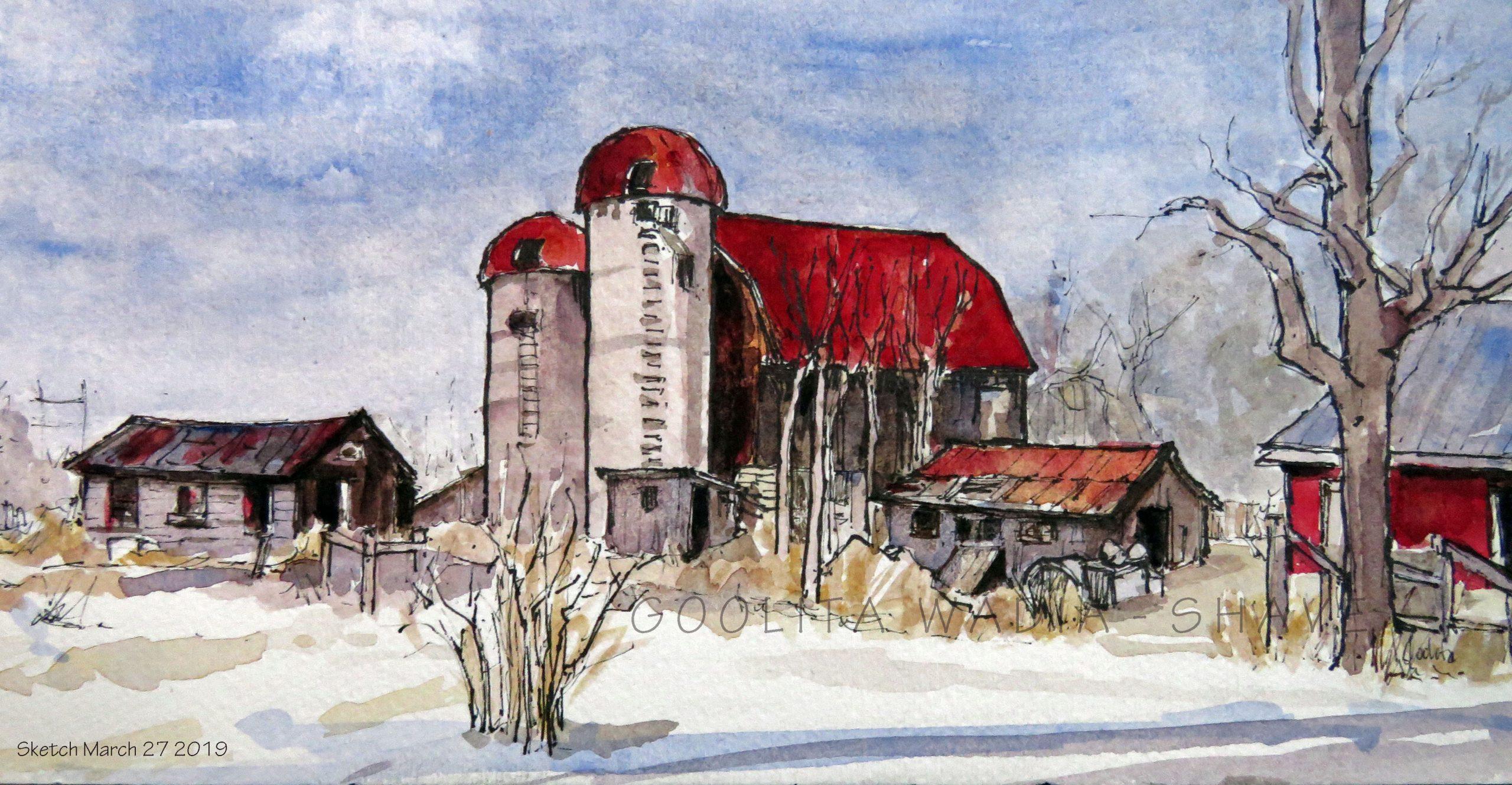 "Ontario barn (Series) 2 - 4.75"" x 9"" Original Watercolour on Archival Paper. $75"