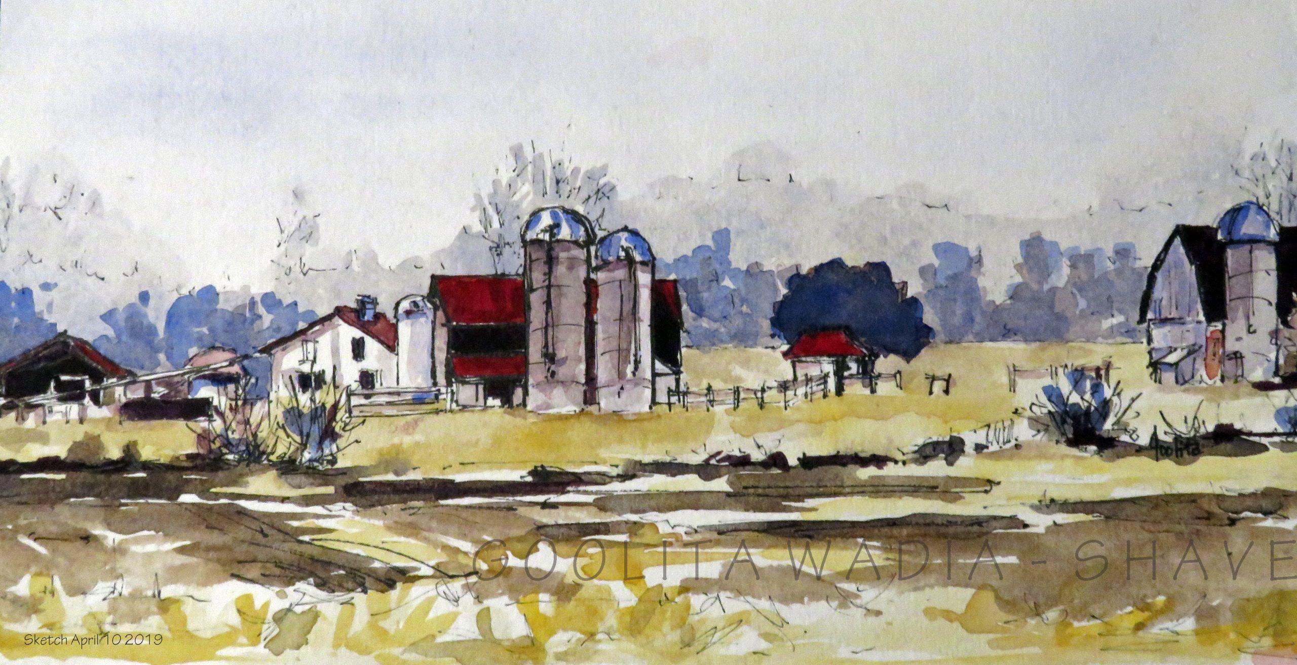 "Ontario Barn 3 (Series) - 4.5"" x 9"" Original Watercolour on Archival Paper. $75"