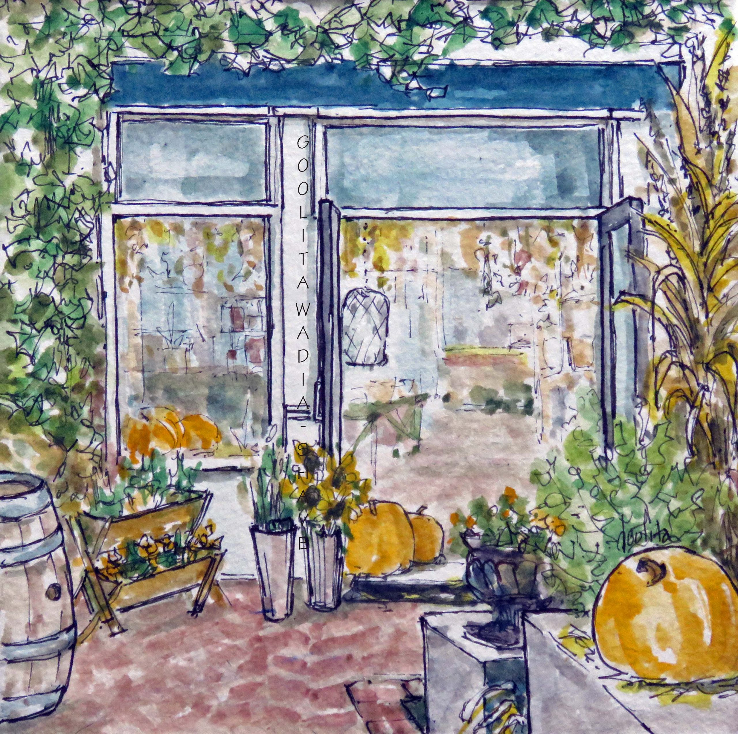 """Storefronts, Niagara-on-the-Lake - 6"""" x 6"""" Original Watercolour on Archival Paper. $45"""