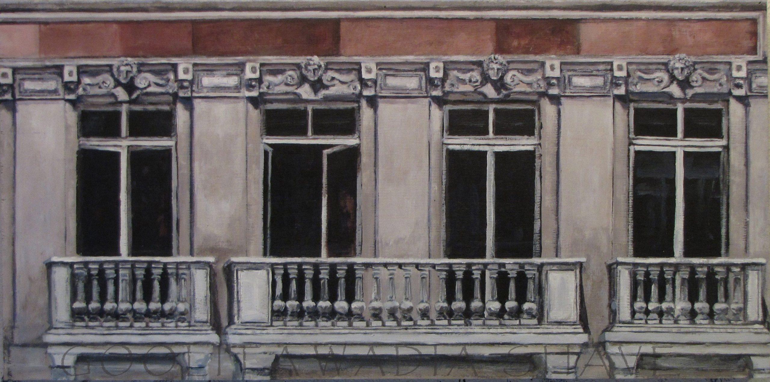 "Balcony, Paris - 12"" x 24"" Acrylic on Wood Cradle."