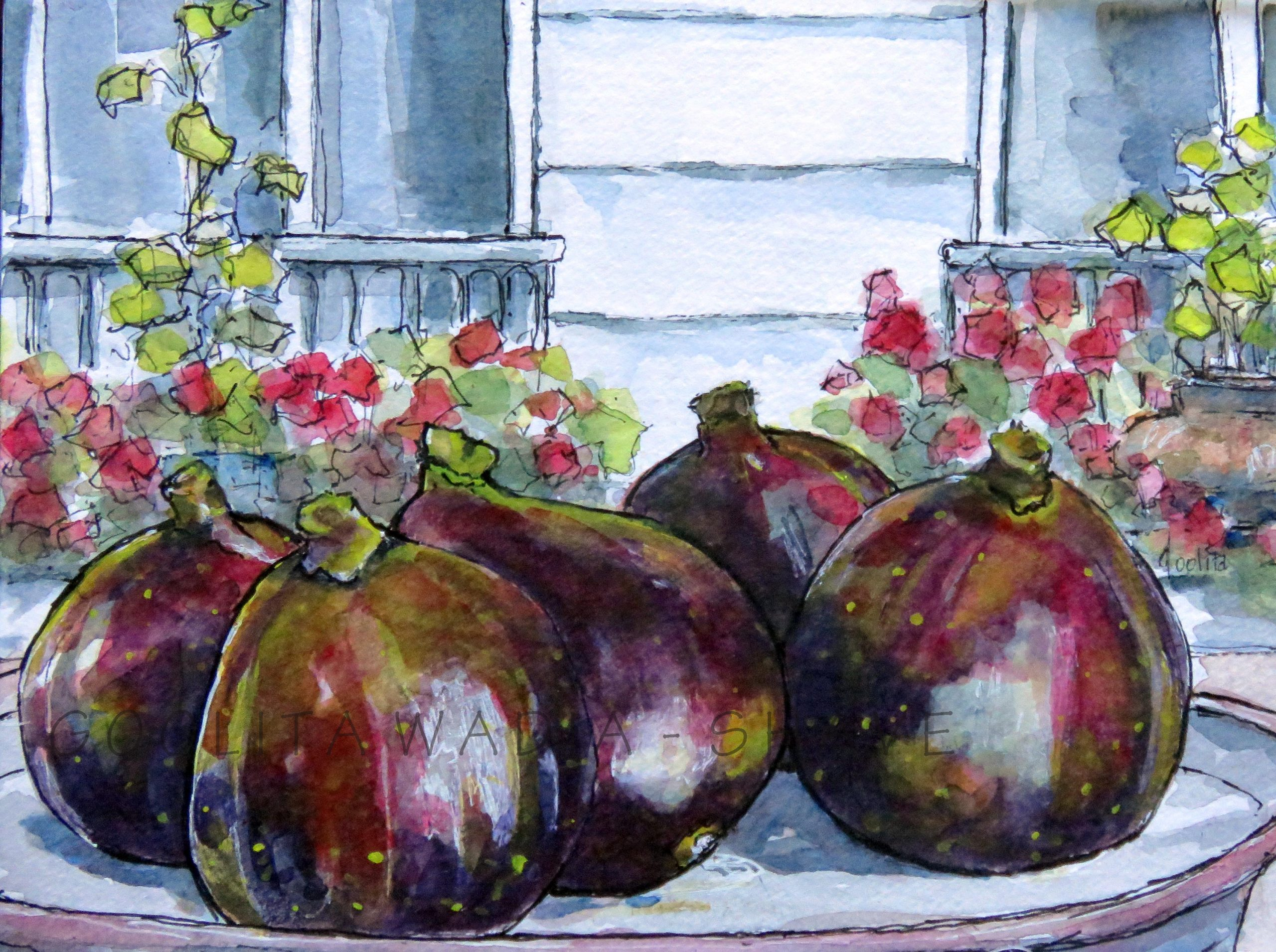 "Love Figs - 6"" x 8"" - Original Watercolour on Archival Paper. Prints 8"" x10"" $45"