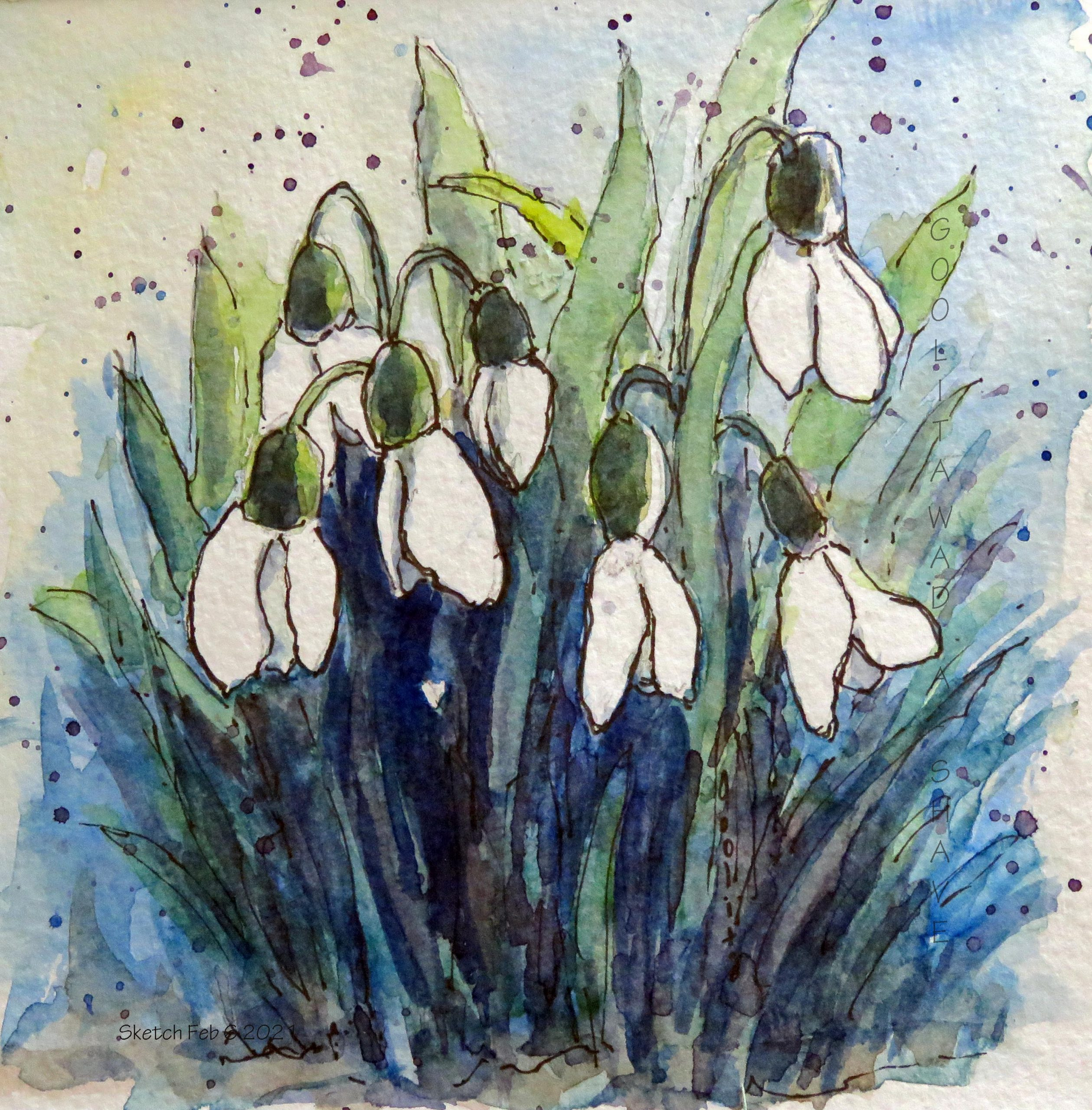 """February 6, 2021 - Signs of Spring - 6"""" x 6"""" Original Watercolour on Archival Paper. Prints Available."""