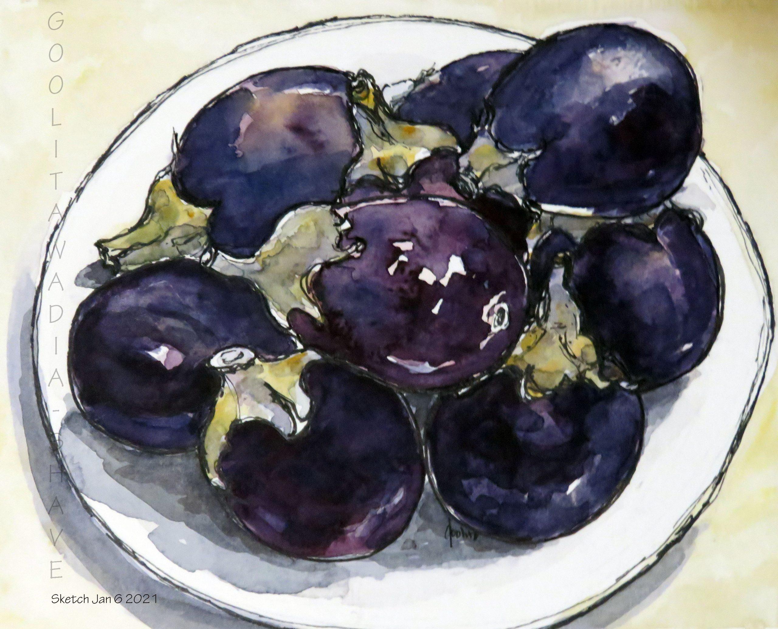 """Eggplants, Mum's Favourites - 6"""" x 8"""" Original Watercolour on Archival Paper. 8' x10"""" Prints Available $45"""
