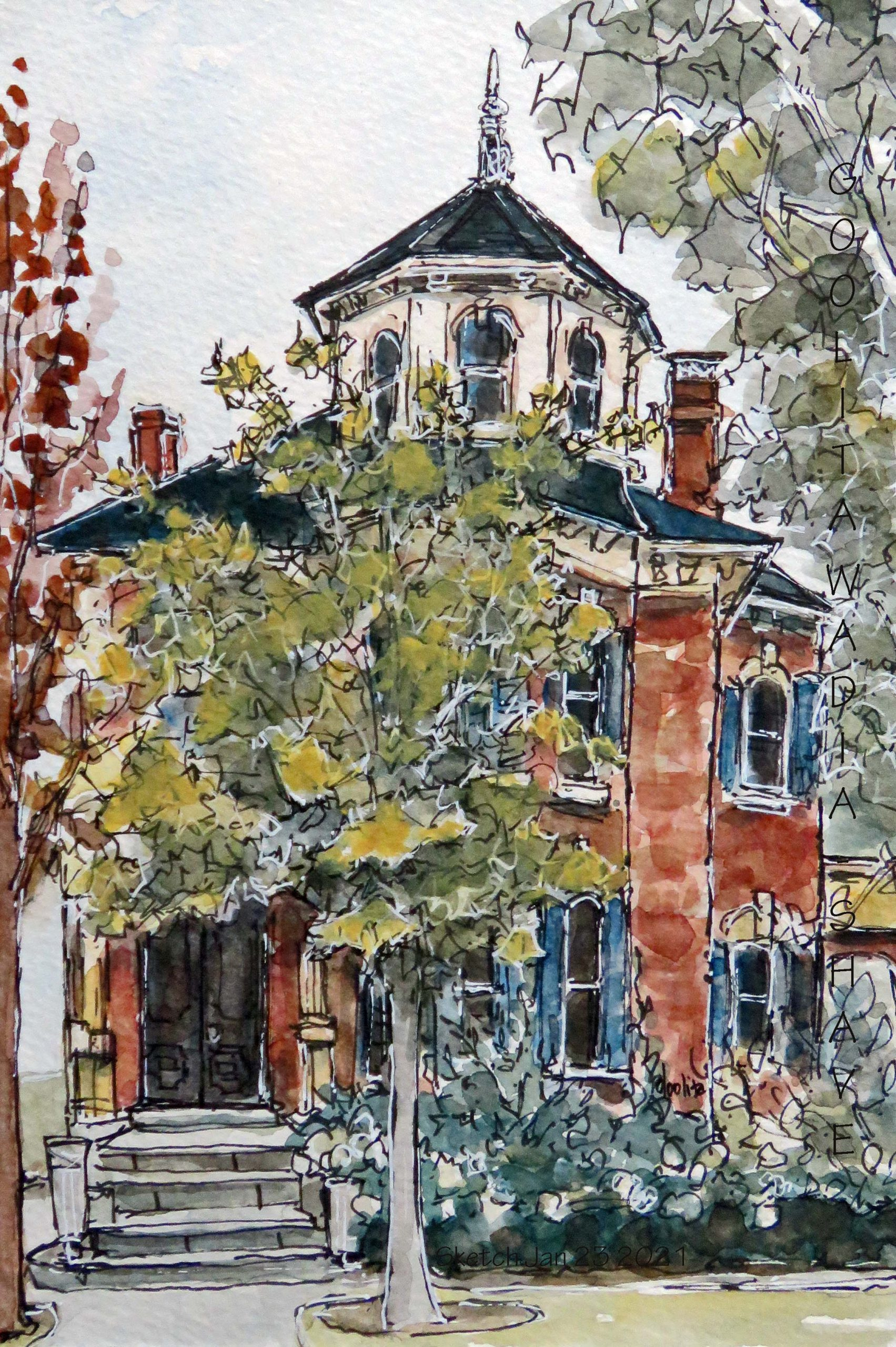 """Charm, Guelph, ON - 6"""" x 9"""" Original Watercolour on Archival Paper."""