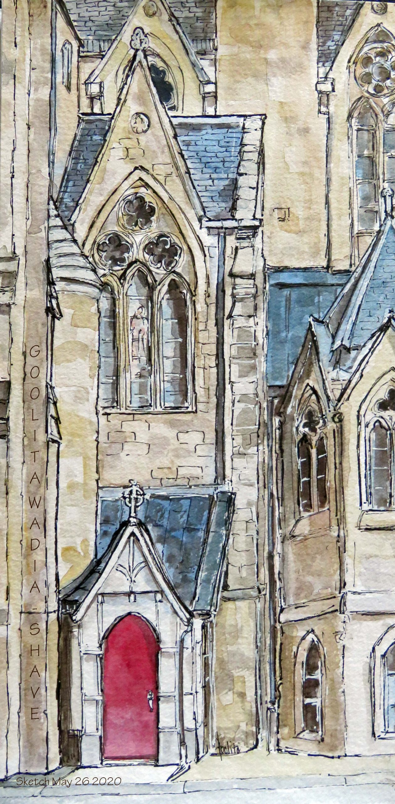 """Basilica of Our lady, Guelph, ON - 6"""" x 12"""" Original Watercolour on Archival Paper. $175"""
