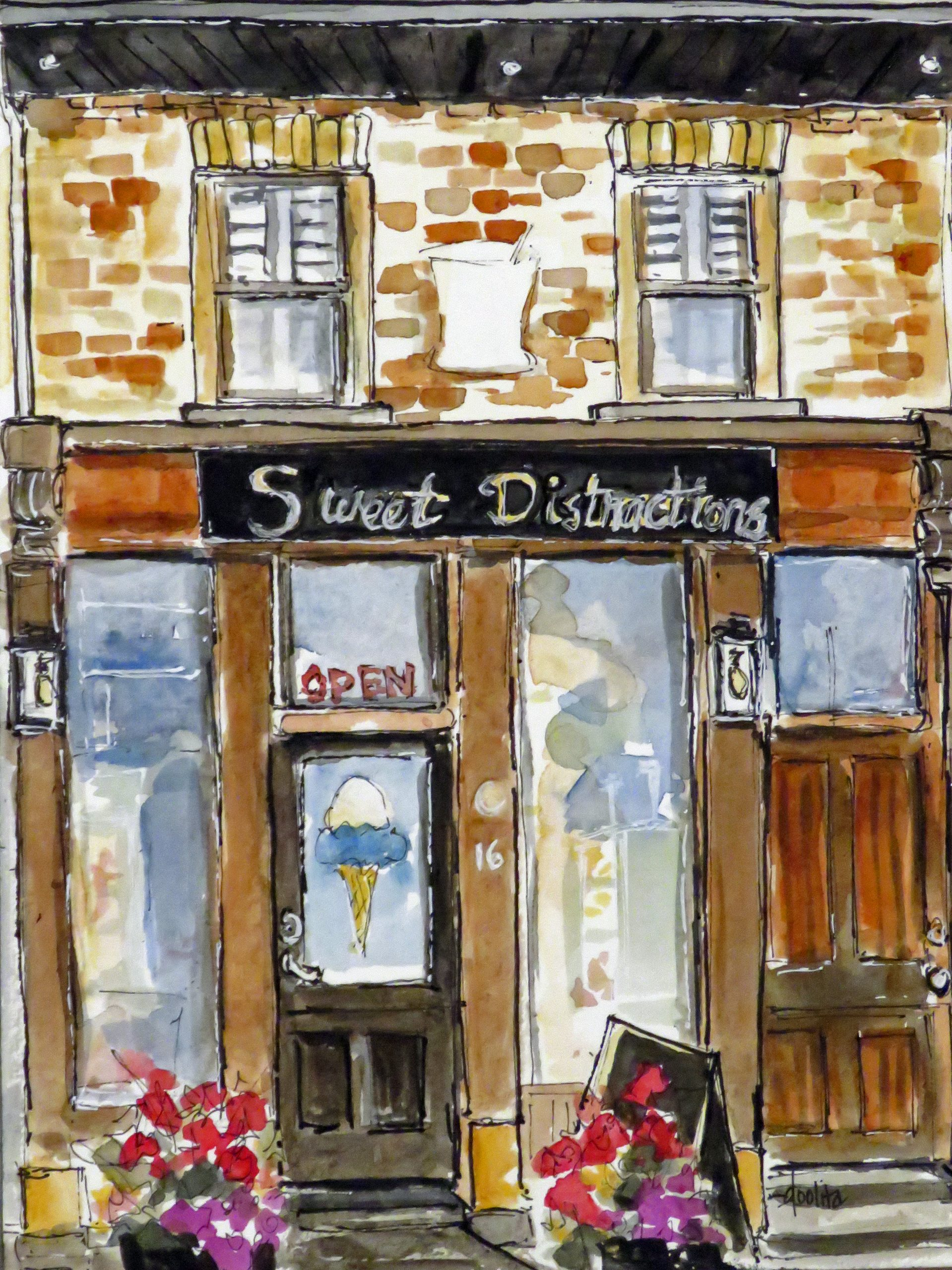 """Elora Storefronts, Sweet Distractions - 8"""" x 6"""" Original Watercolour on Archival Paper. $200"""