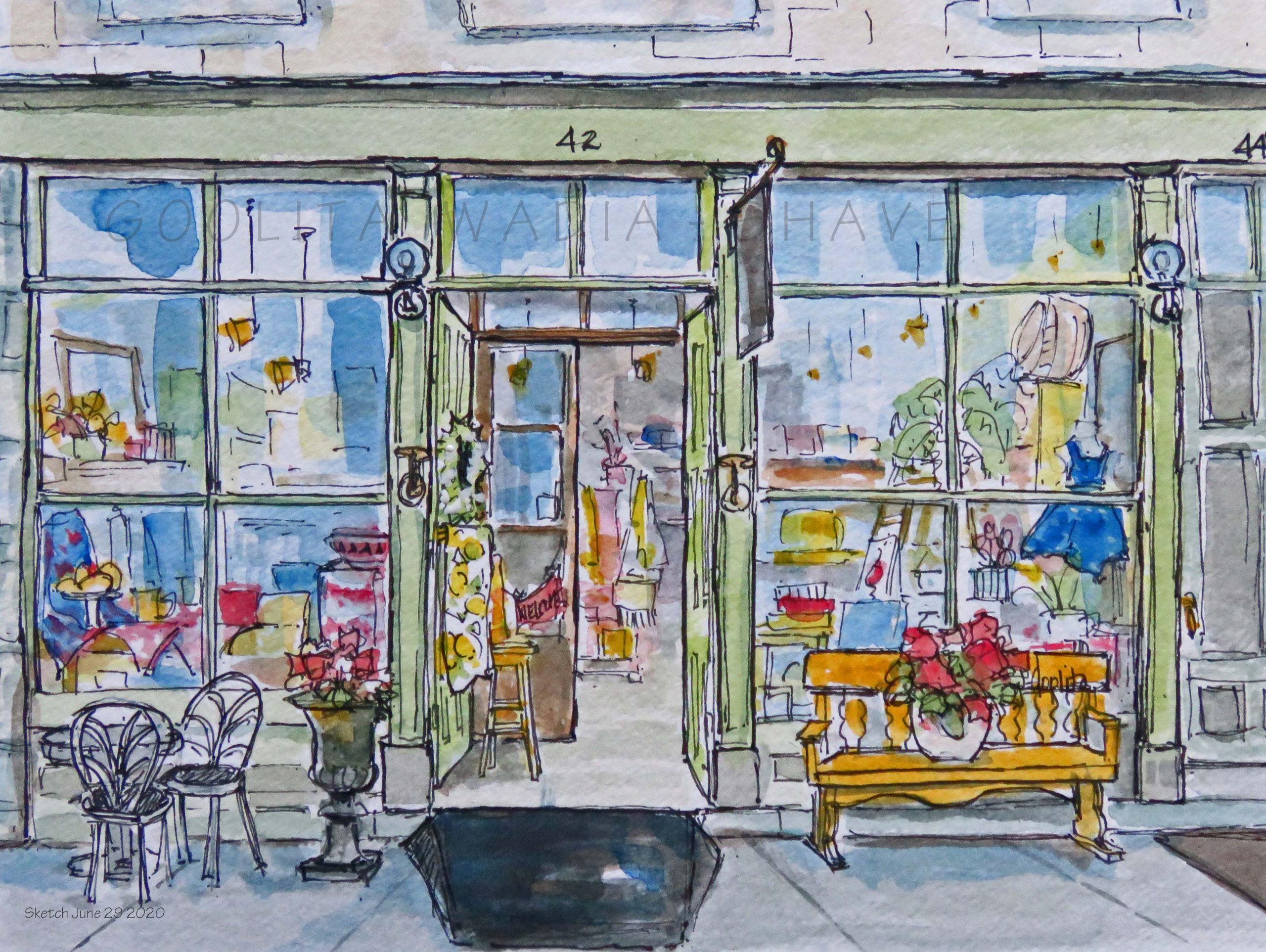 """Elora Storefronts - 6"""" x 8"""" Original Watercolour on Archival Paper."""