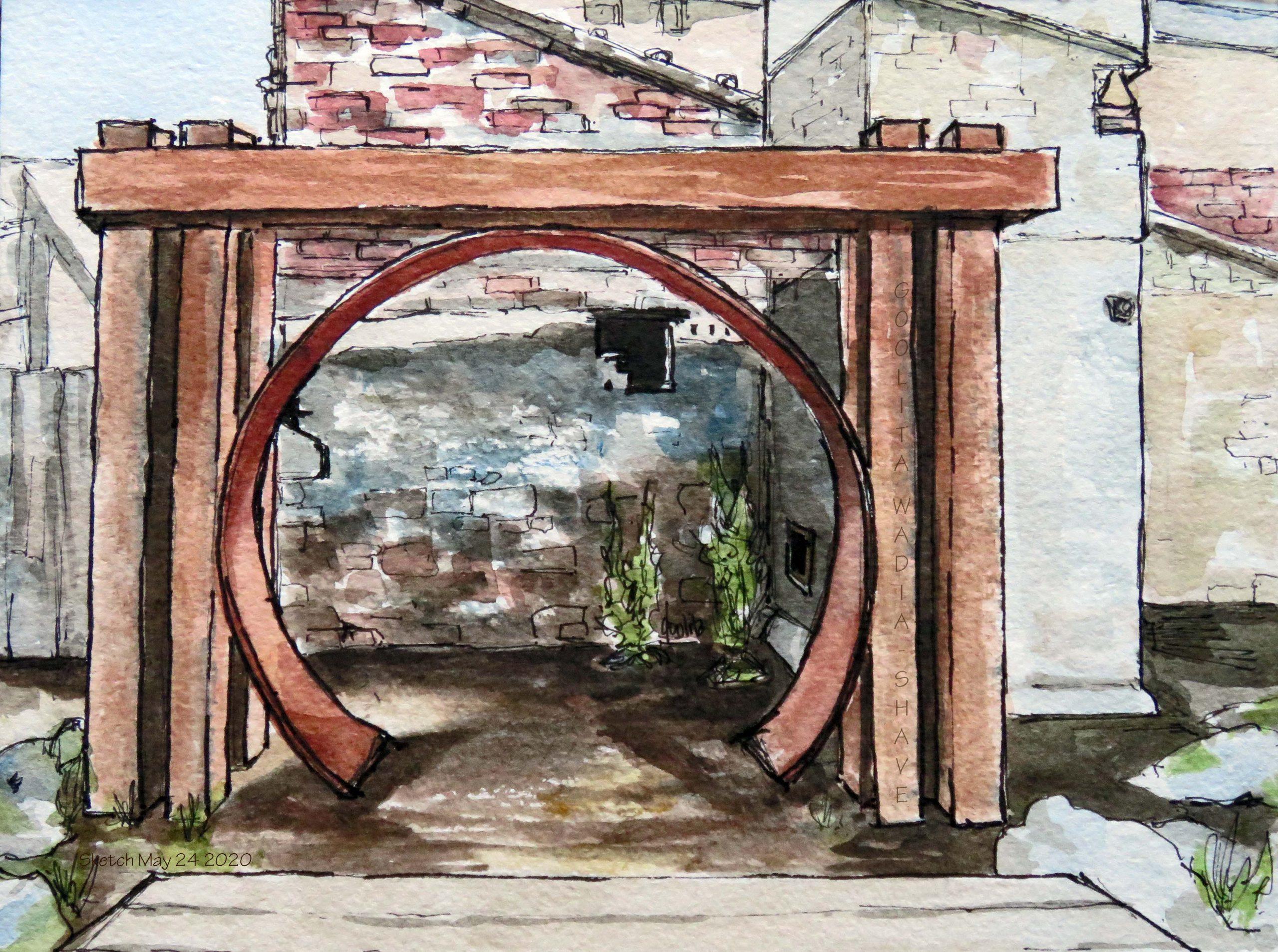 "Elora Mill Outdoor Chapel - 6"" x 8"" Original Watercolour on Archival Paper."