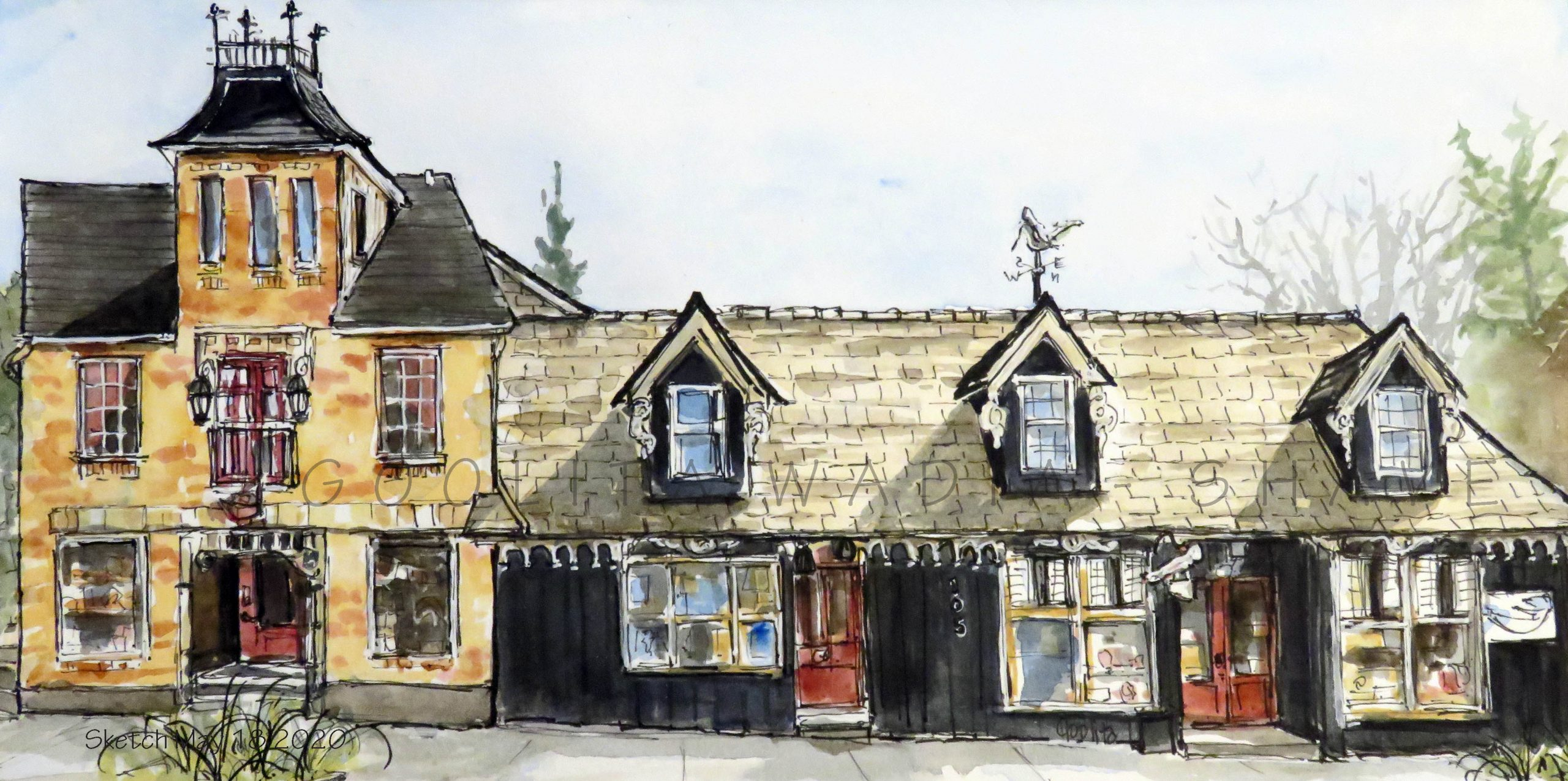 "Elora Charm - 6"" x 12"" Original Watercolour on Archival Paper."