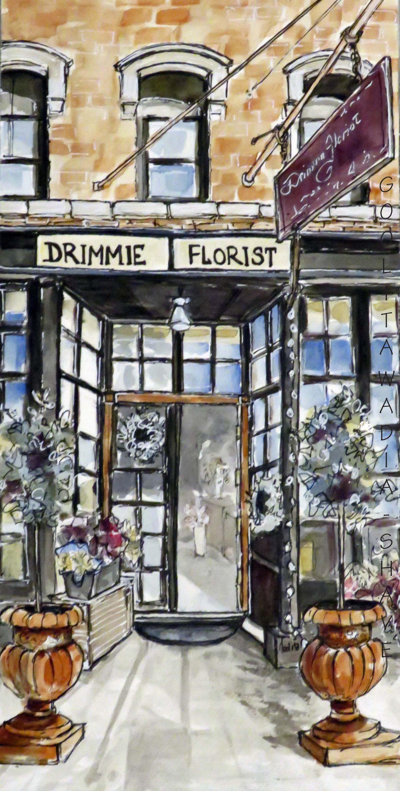 """Elora Storefronts, Drimmie Florist - 12"""" x 6"""" Original Watercolour on Archival Paper."""