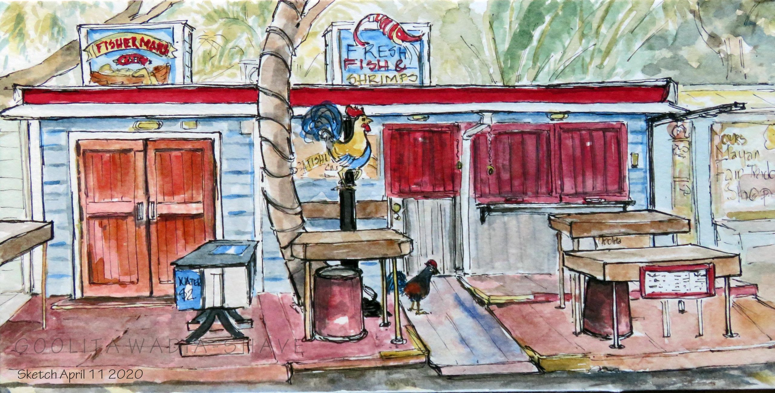 "Carolyn's Key West - 6"" x 12"" Original Watercolour on Archival paper."