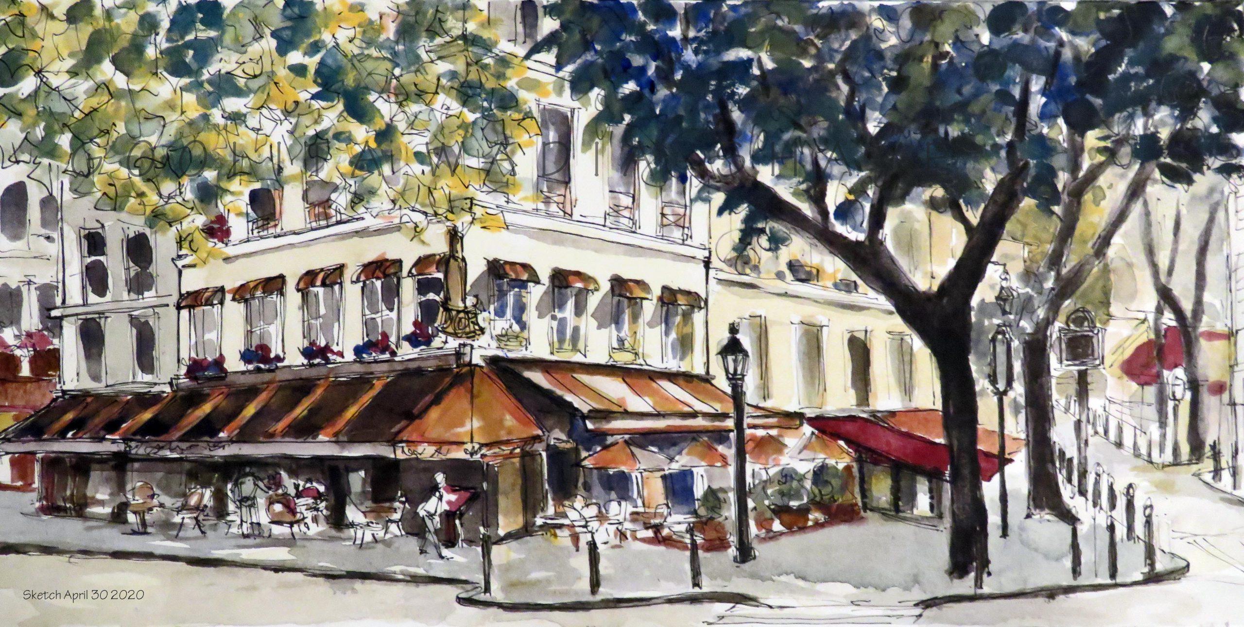 """Architecture Paris Cafes - 6"""" x 12"""" Original Watercolour on Archival Paper."""