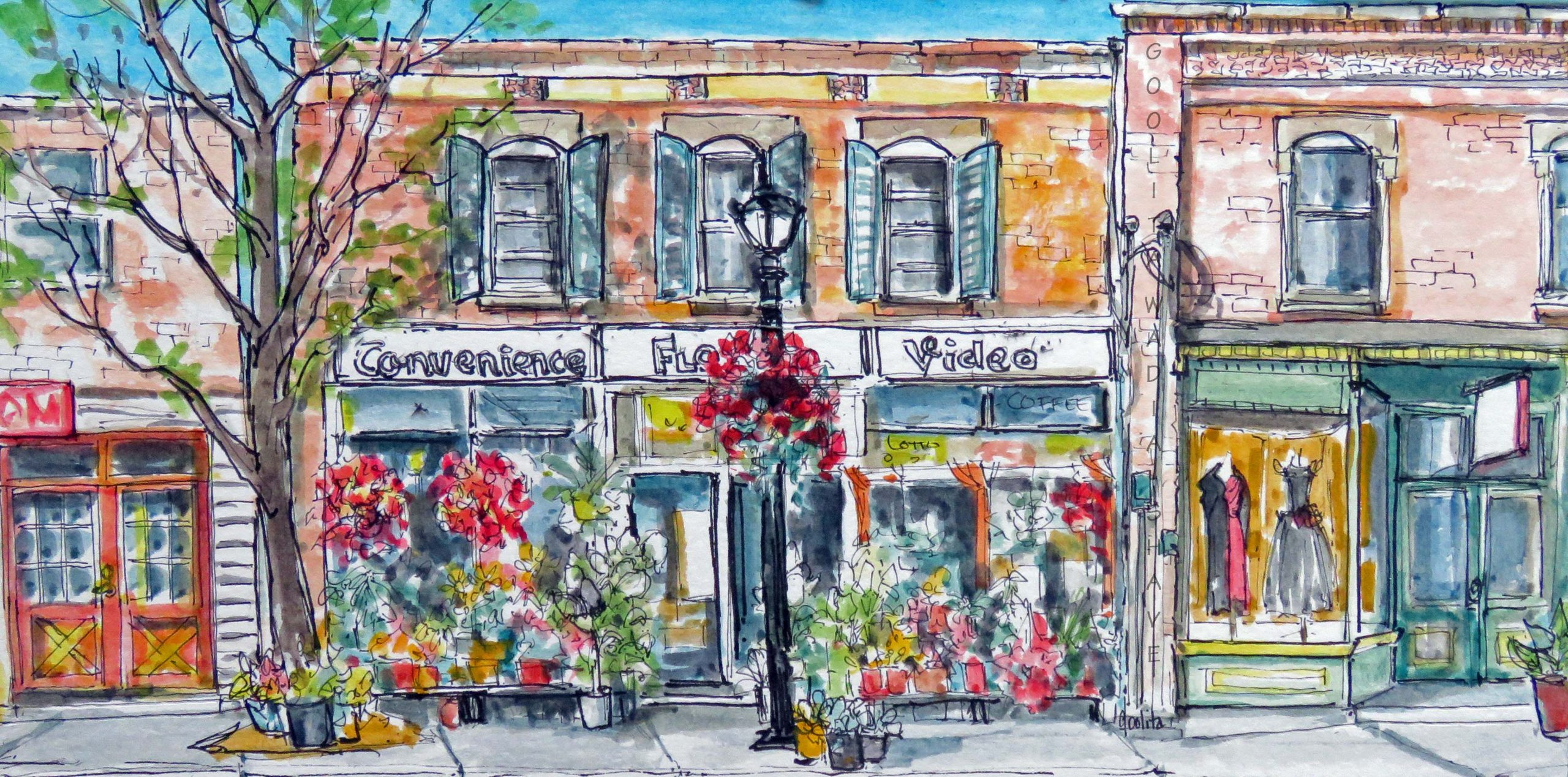 """Storefronts, Erin, ON - 6"""" x 12"""" Original Watercolour on Archival Paper."""