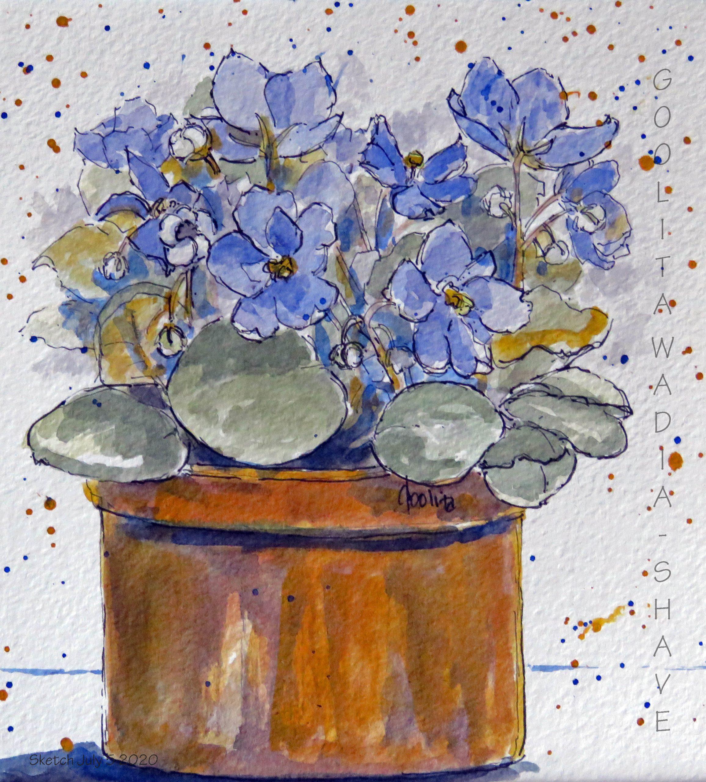 """Violets - 6"""" x 6"""" Original Watercolour on Archival Paper."""
