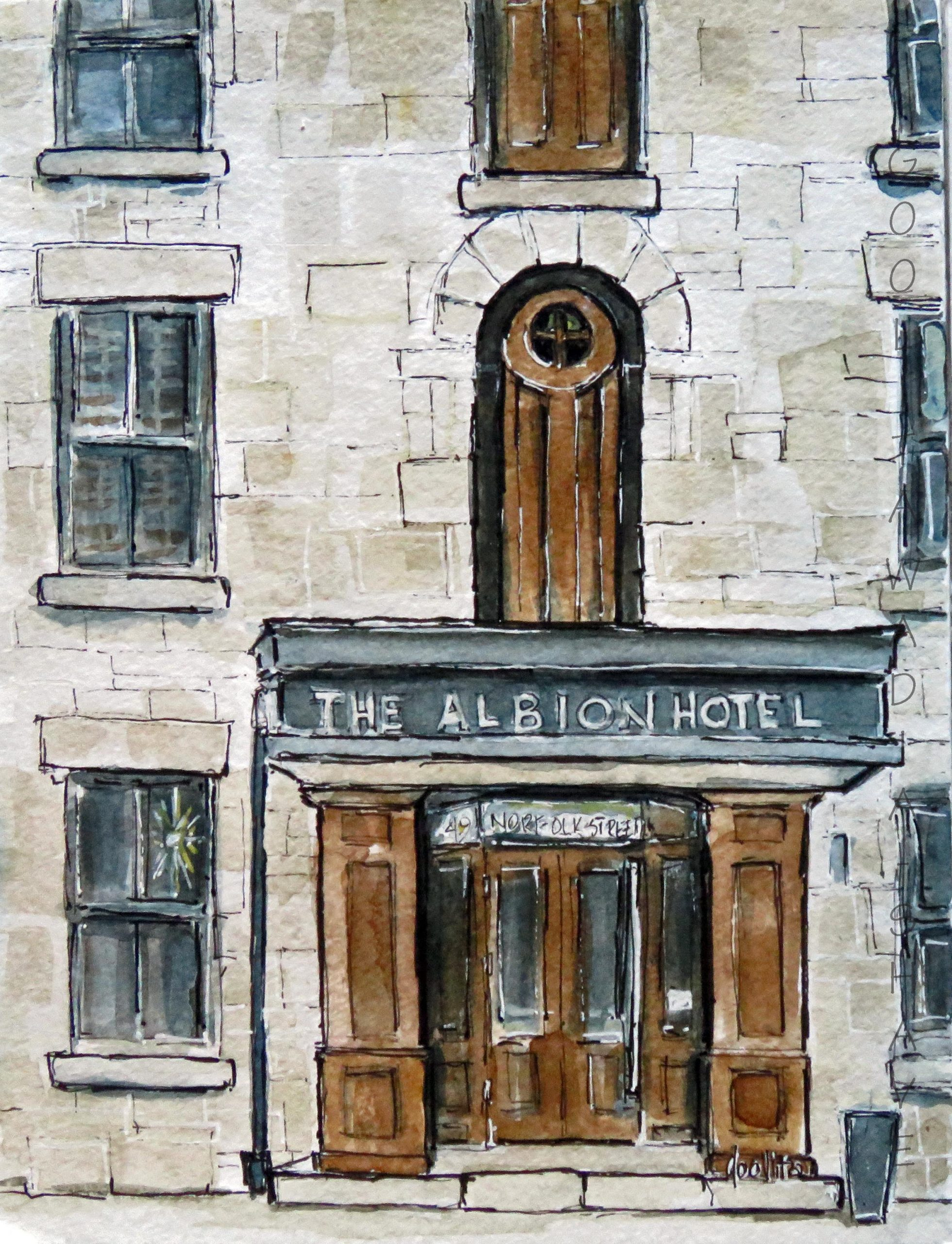 """Albion Hotel, Guelph, ON - 8"""" x 6"""" Original Watercolour on Archival Paper. $95"""