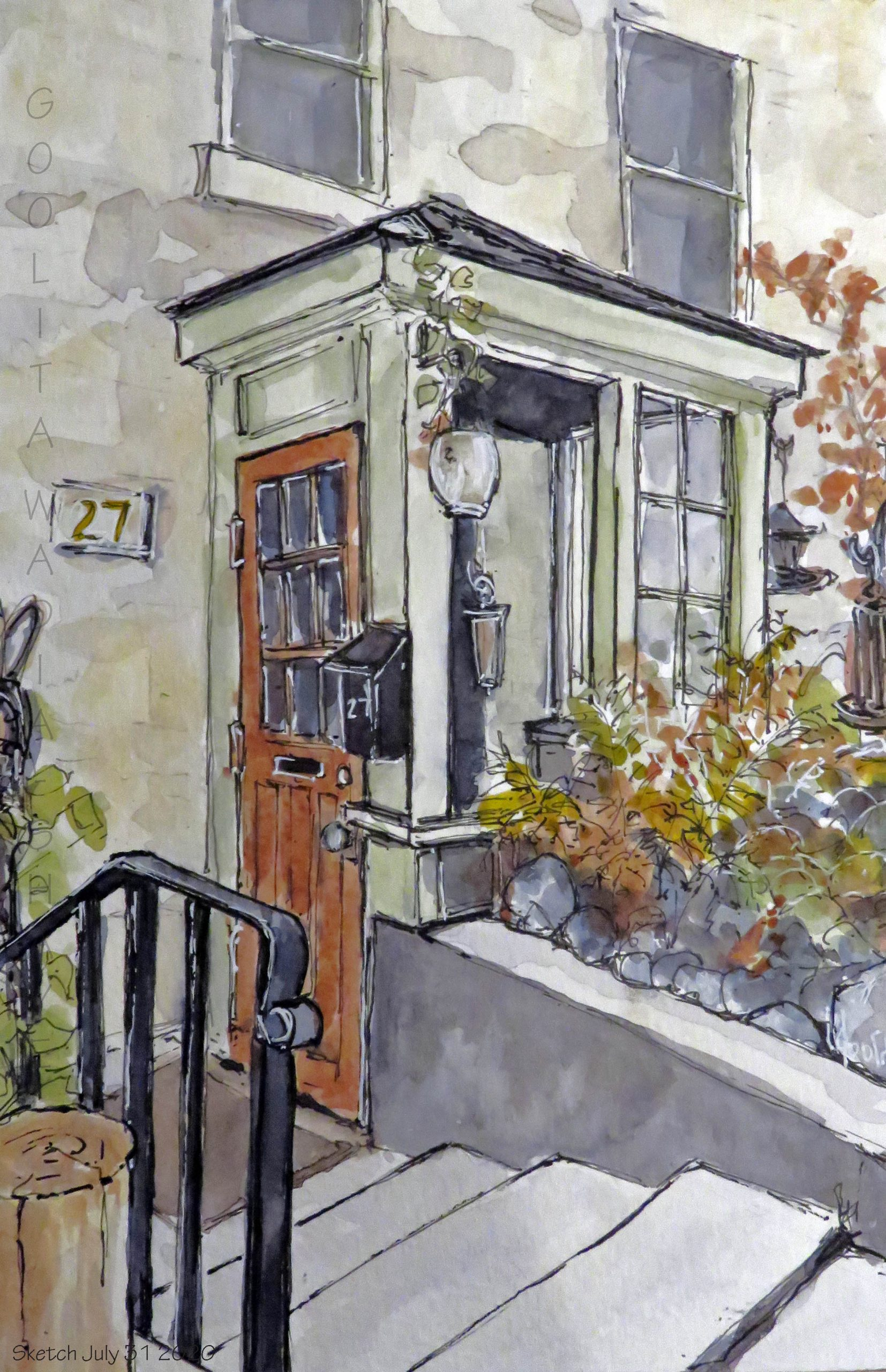 """Doorways, Guelph, ON - 9"""" x 6"""" Original Watercolour on Archival Paper. $75"""