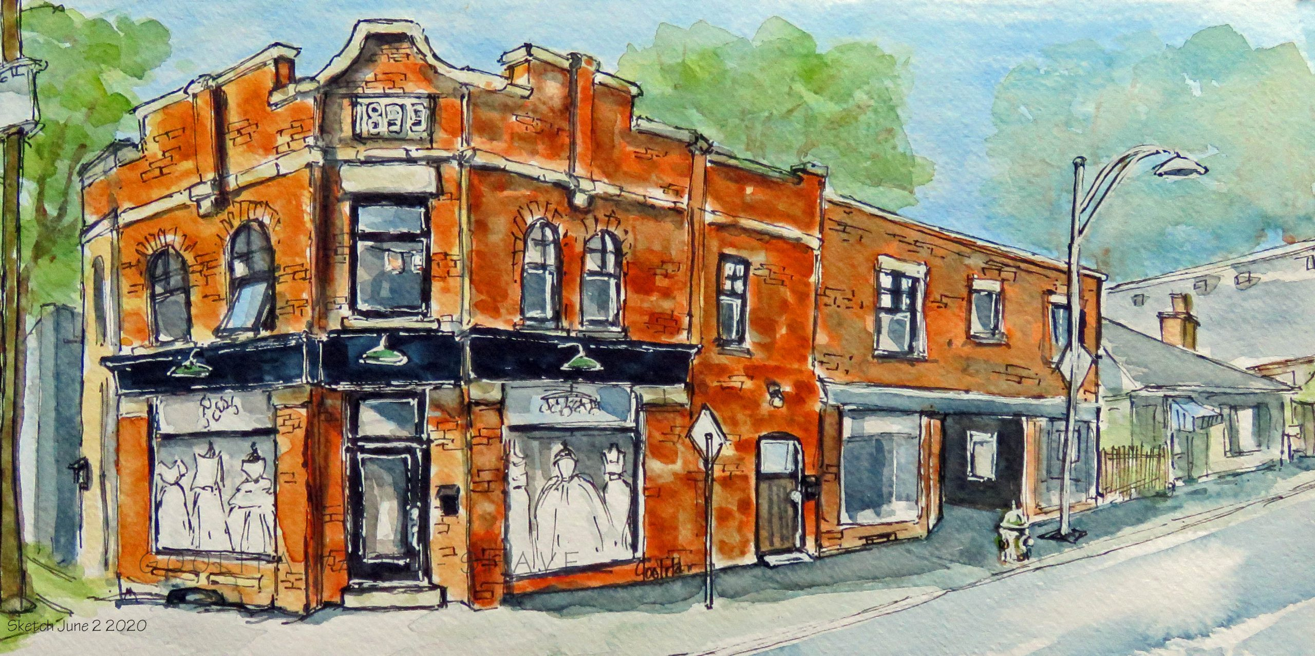 """Paisley Rd Charm, Guelph, ON - 6"""" x 12"""" Original Watercolour on Archival Paper. $145"""