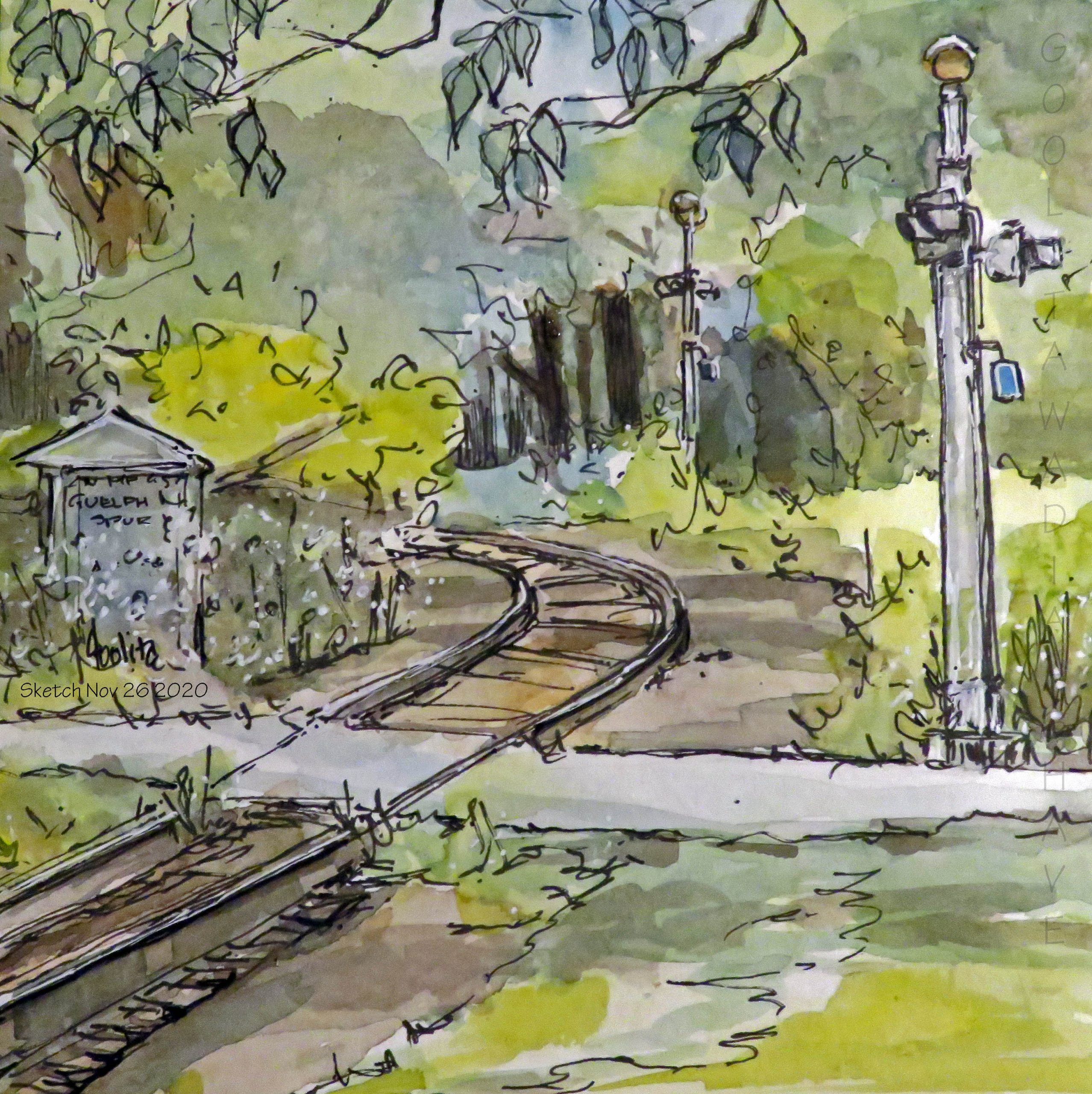 """Blossom Junction, Guelph, ON - 6"""" x 6"""" Original Watercolour on Archival Paper."""