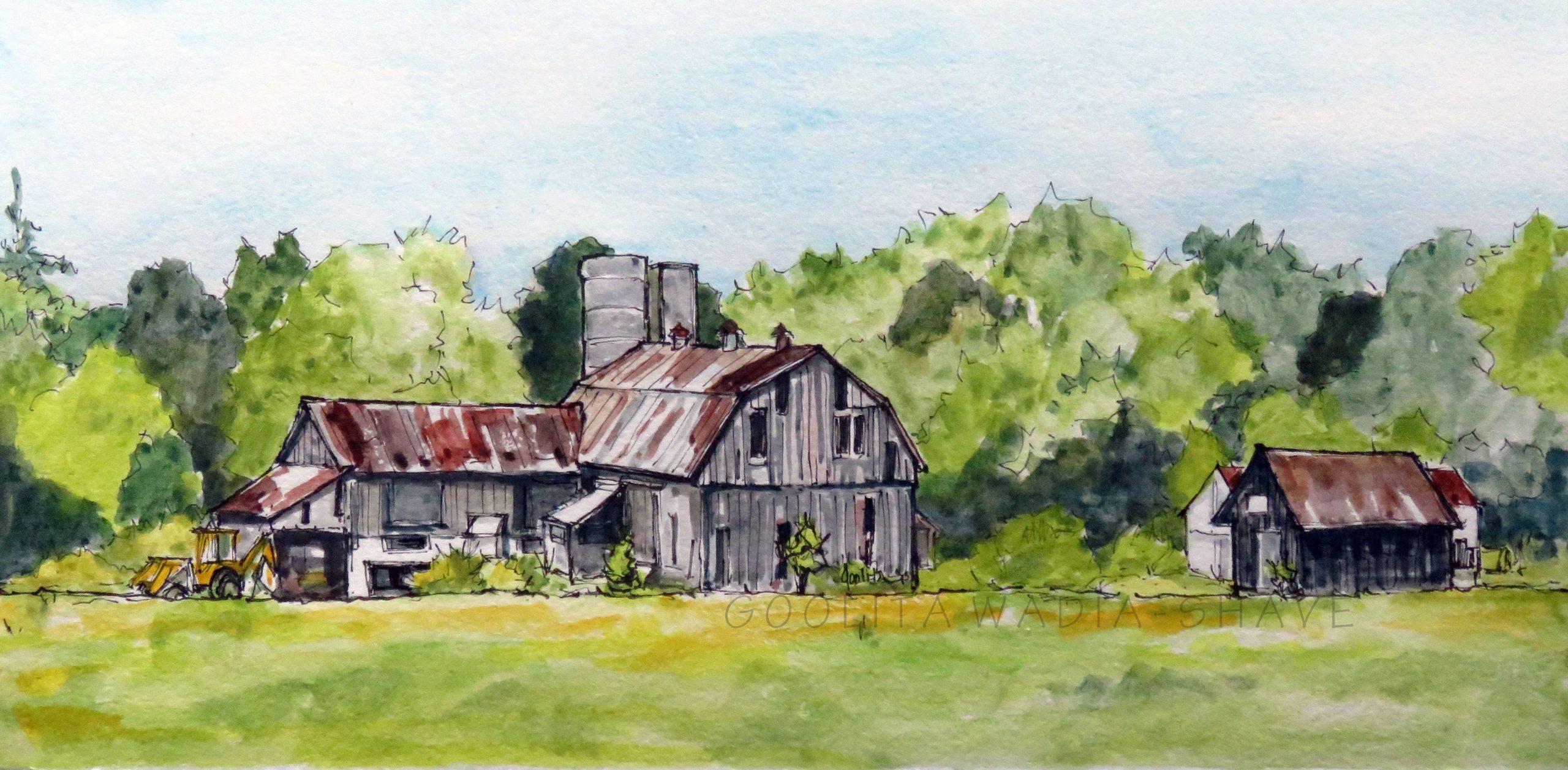 "Ontario barn (Series) - 6"" x 12"" Original watercolour on archival paper"