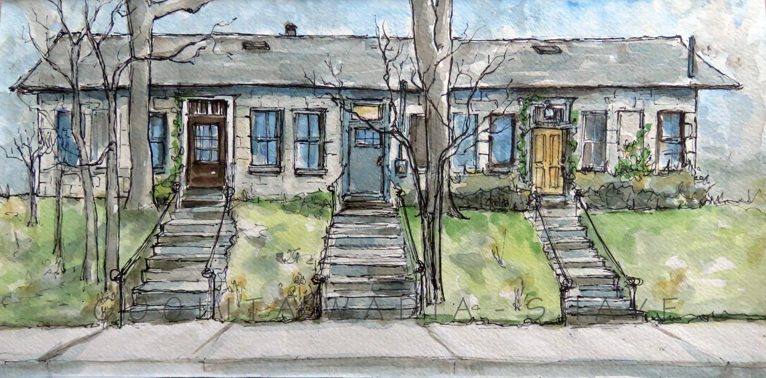 """Homes Along Paisley Rd - 6"""" x 12"""" Original Watercolour on Archival Paper."""