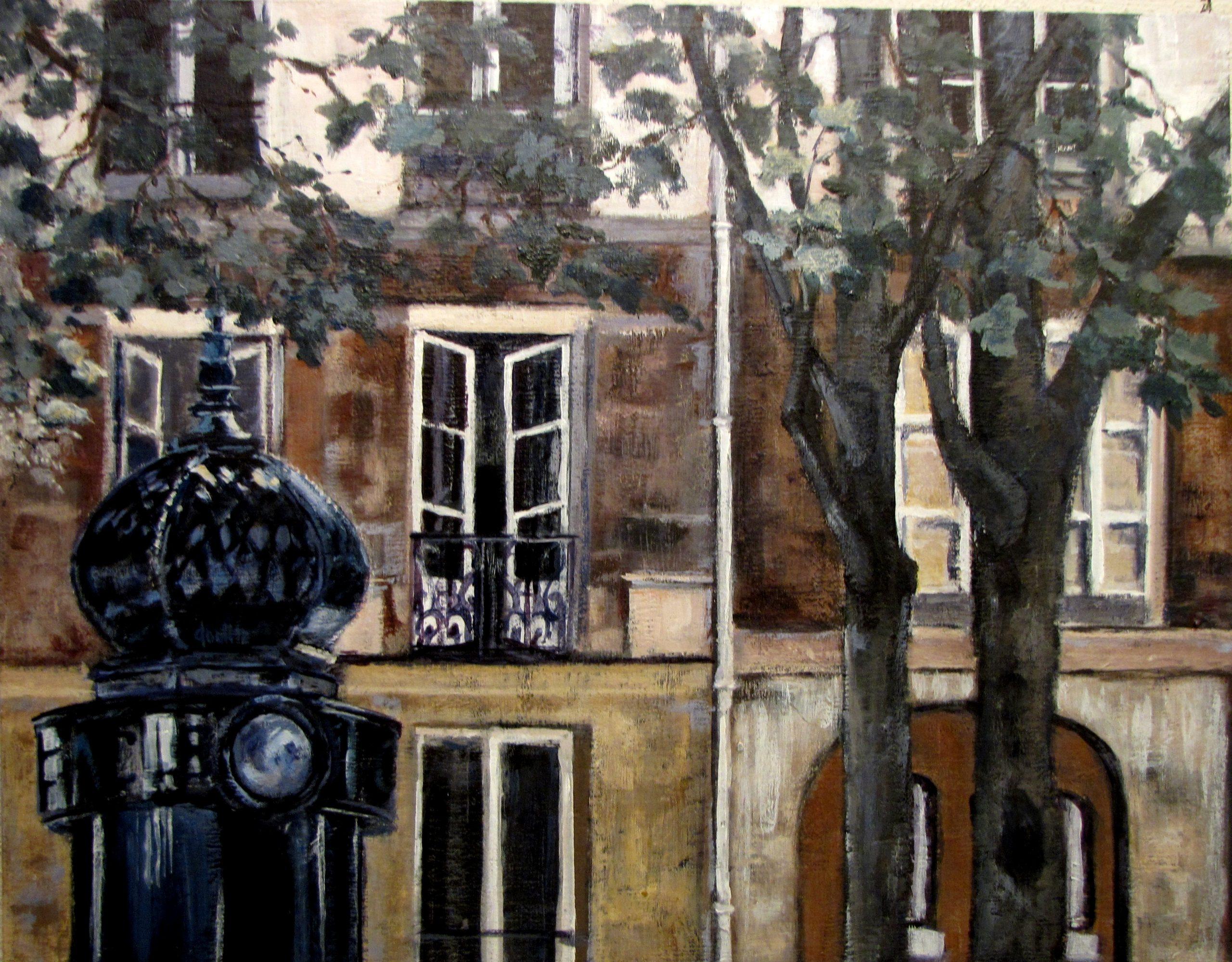 "Paris windows, Apres midi - 14"" x 18"" Acrylic on wood cradle. $750"