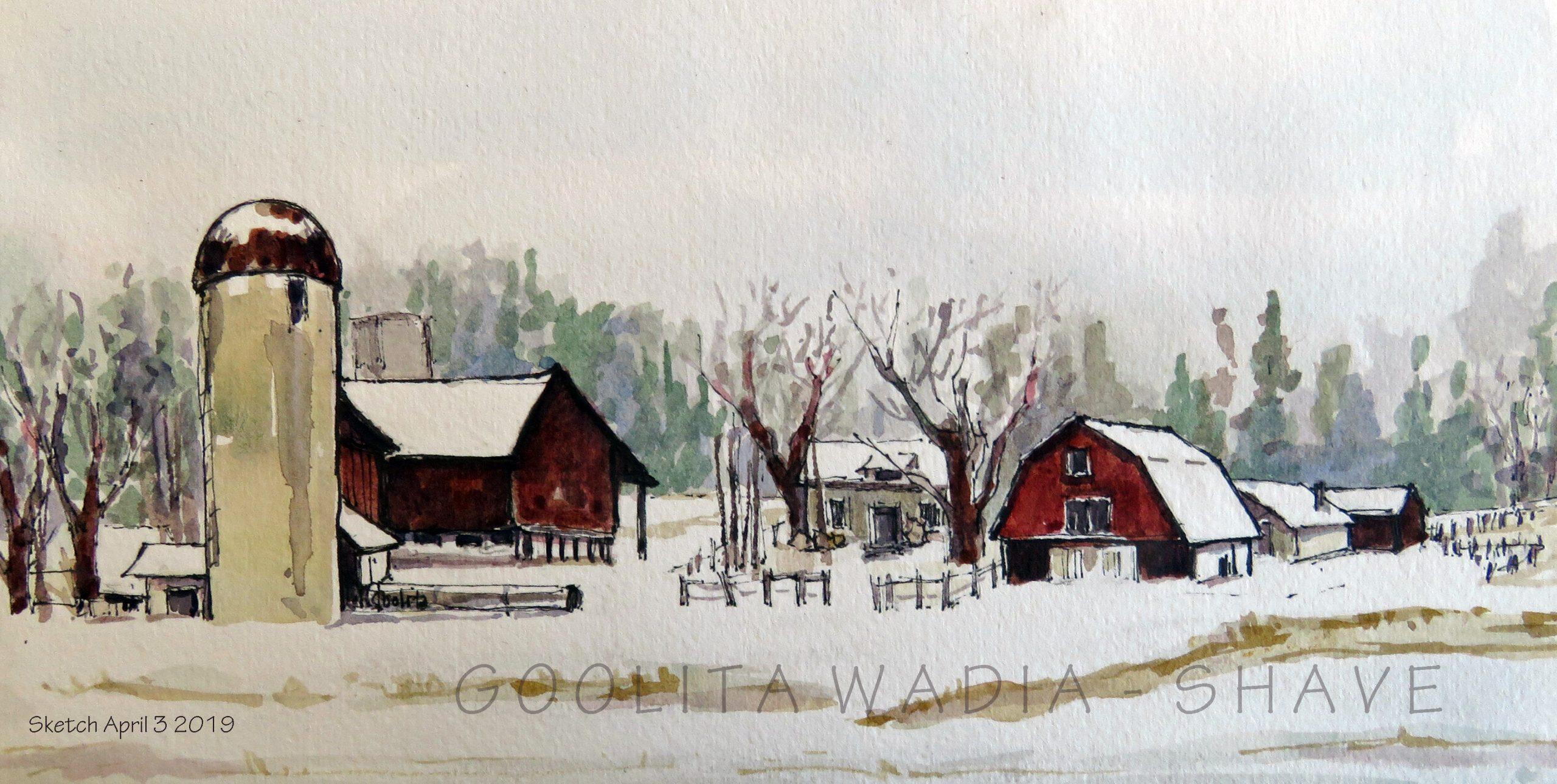 "Ontario barn (Series) 1 - 4.75"" x 9"" Original Watercolour on Archival Paper."