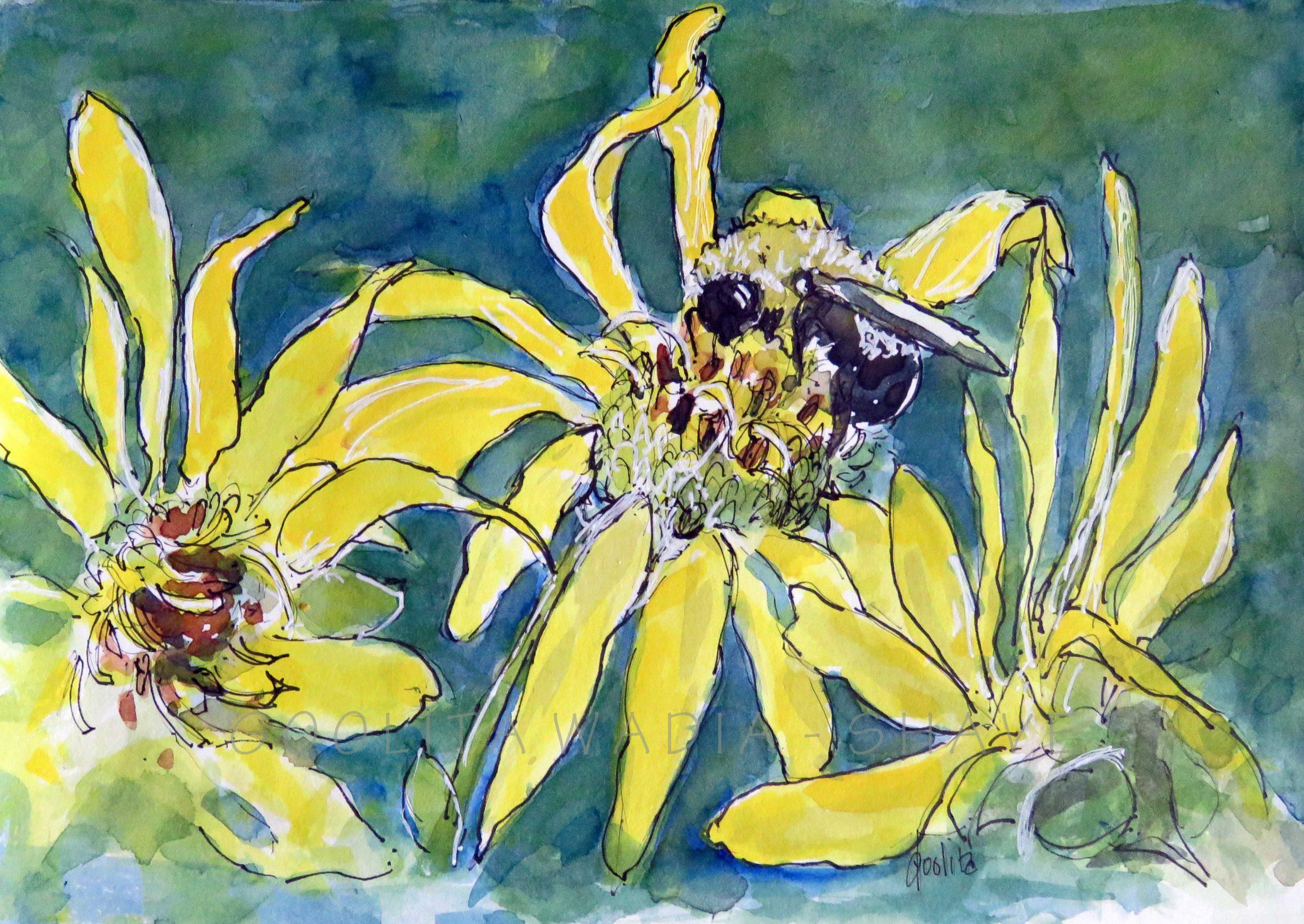 "Beautiful bee - 6"" x 8"" Original Watercolour on Archival Paper. $50"