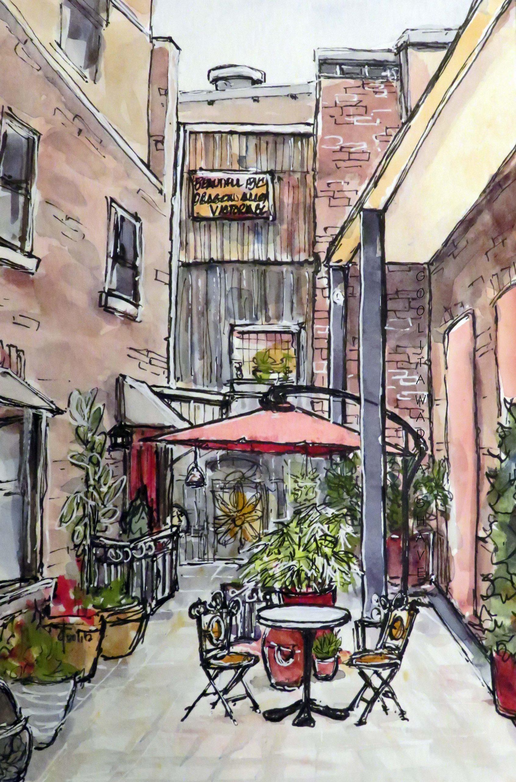 """Dragon Alley, Victoria BC - 9"""" x 6"""" Original Watercolour on Archival Paper. $155"""