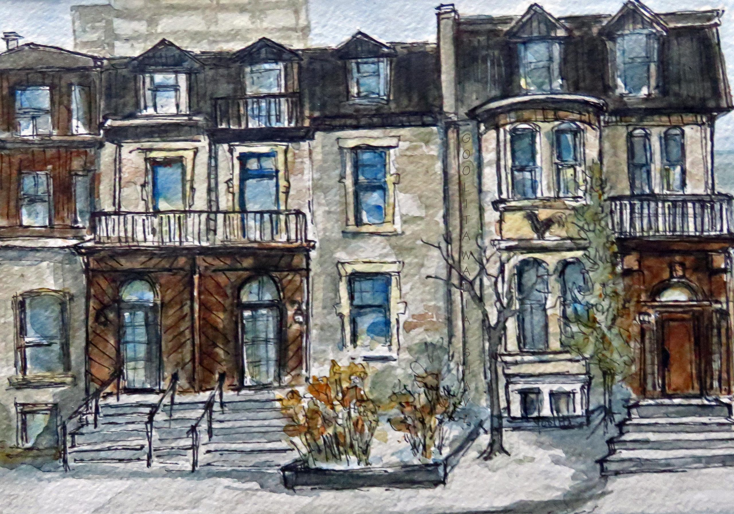 """JD's Montreal - 6"""" x 8"""" Original Watercolour on Archival paper."""