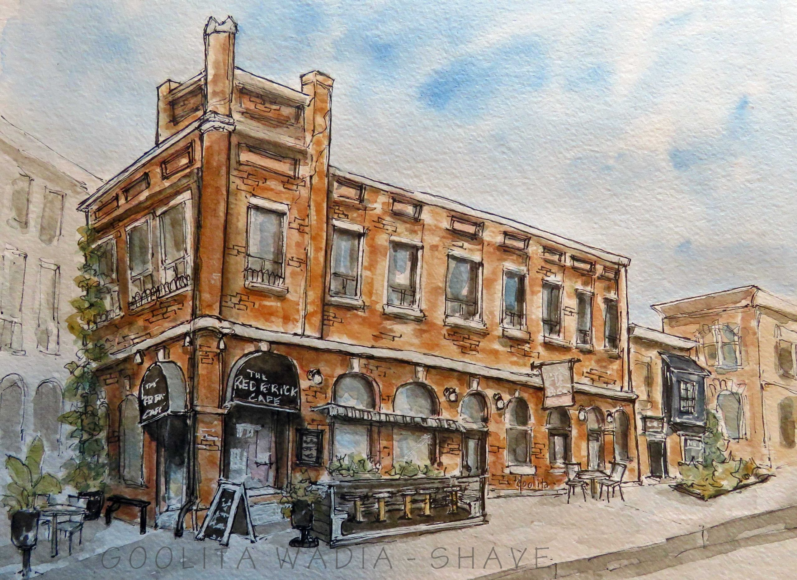"""The Red Brick Cafe - 9"""" x 12"""" Original watercolour on archival paper. $200"""