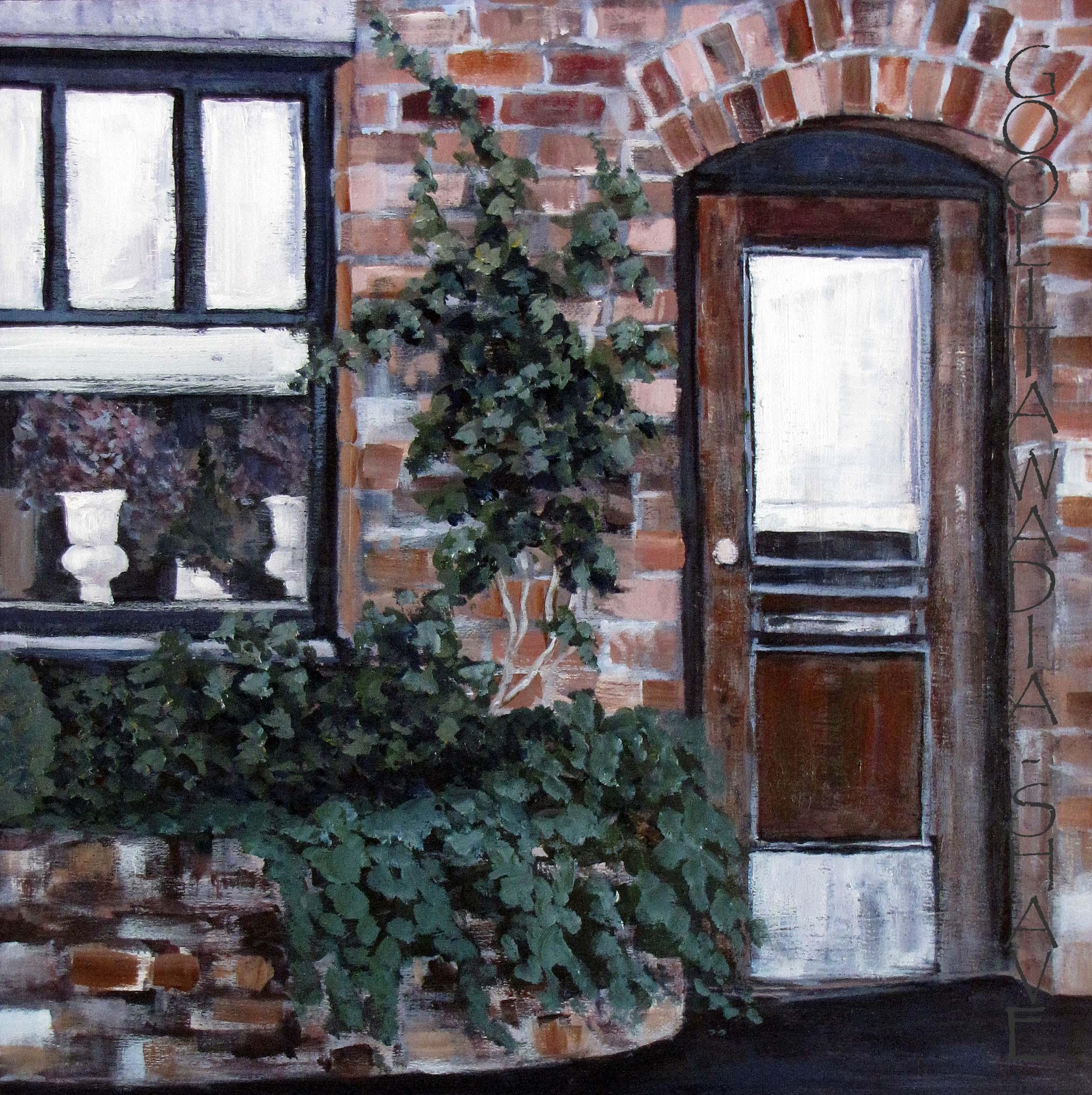 "Doorways Wharf St, Victoria BC - 16"" x 16"" Acrylic on wood cradle. $525"