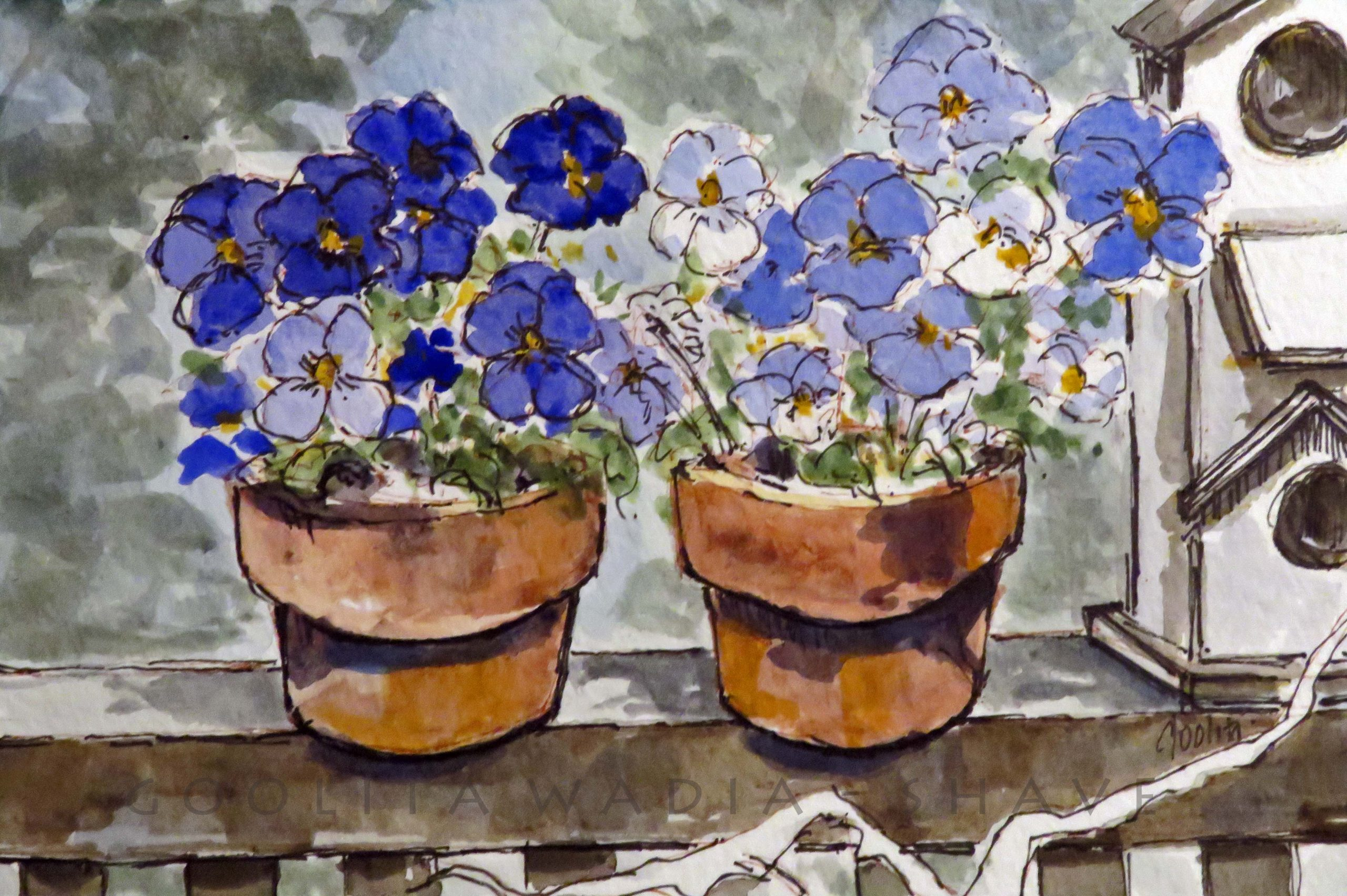 """Pansies from HCP, Victoria BC - 4"""" x 6"""" Original Watercolour on Archival Paper."""