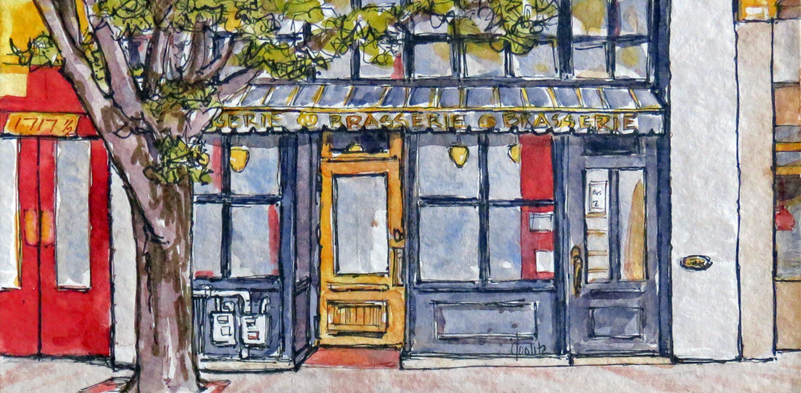 "Victoria BC (Series) Doorways Government St Entrances - 7"" x 3.5"" Original Watercolour $75"