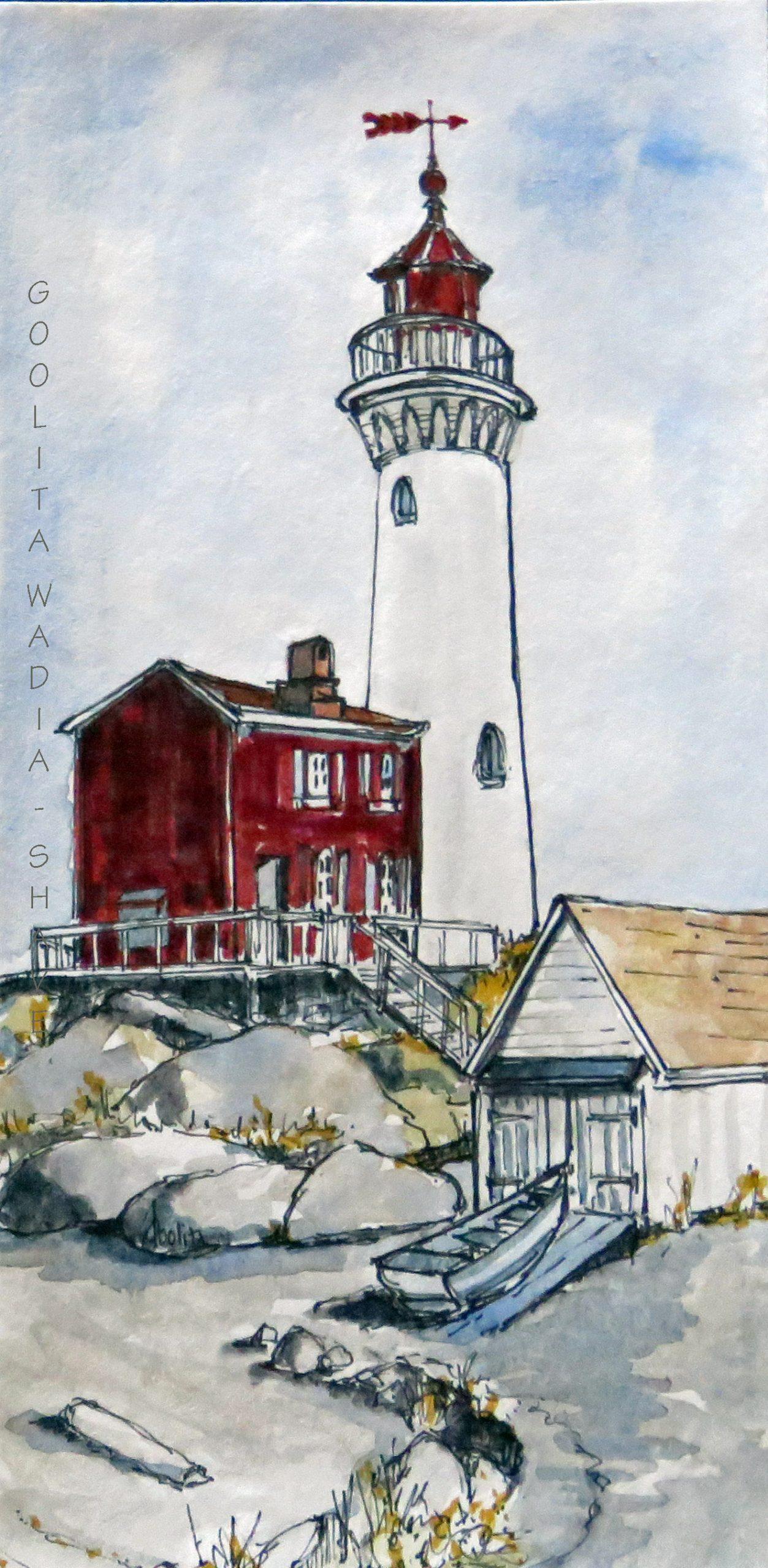 "Fisgard Lighthouse - 7"" x 3.5 "" Original Watercolour on Archival Paper. $75"